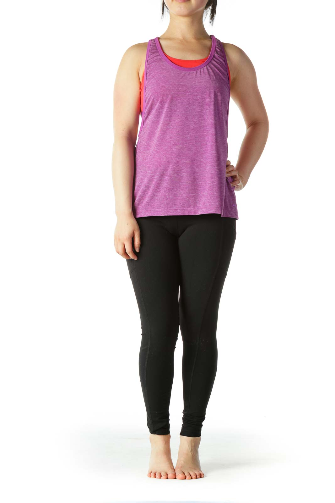 Purple Orange Sports Top with Built-In Bra