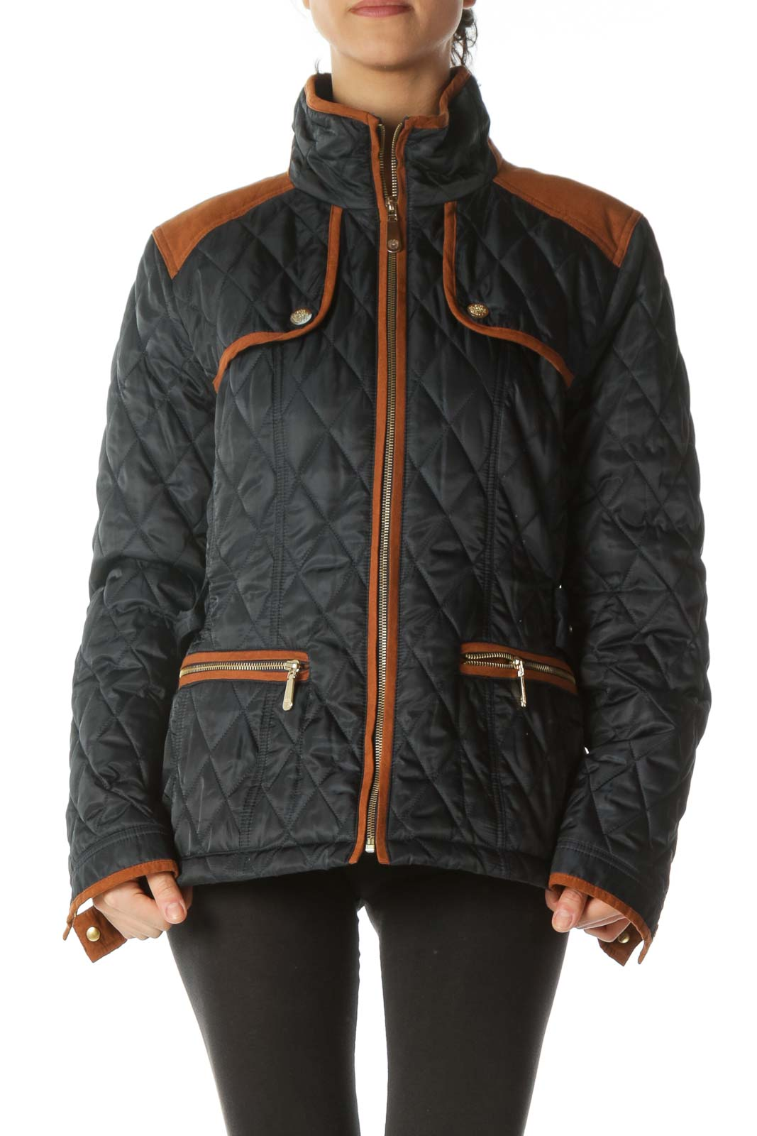 Navy Blue and Orange Padded Jacket