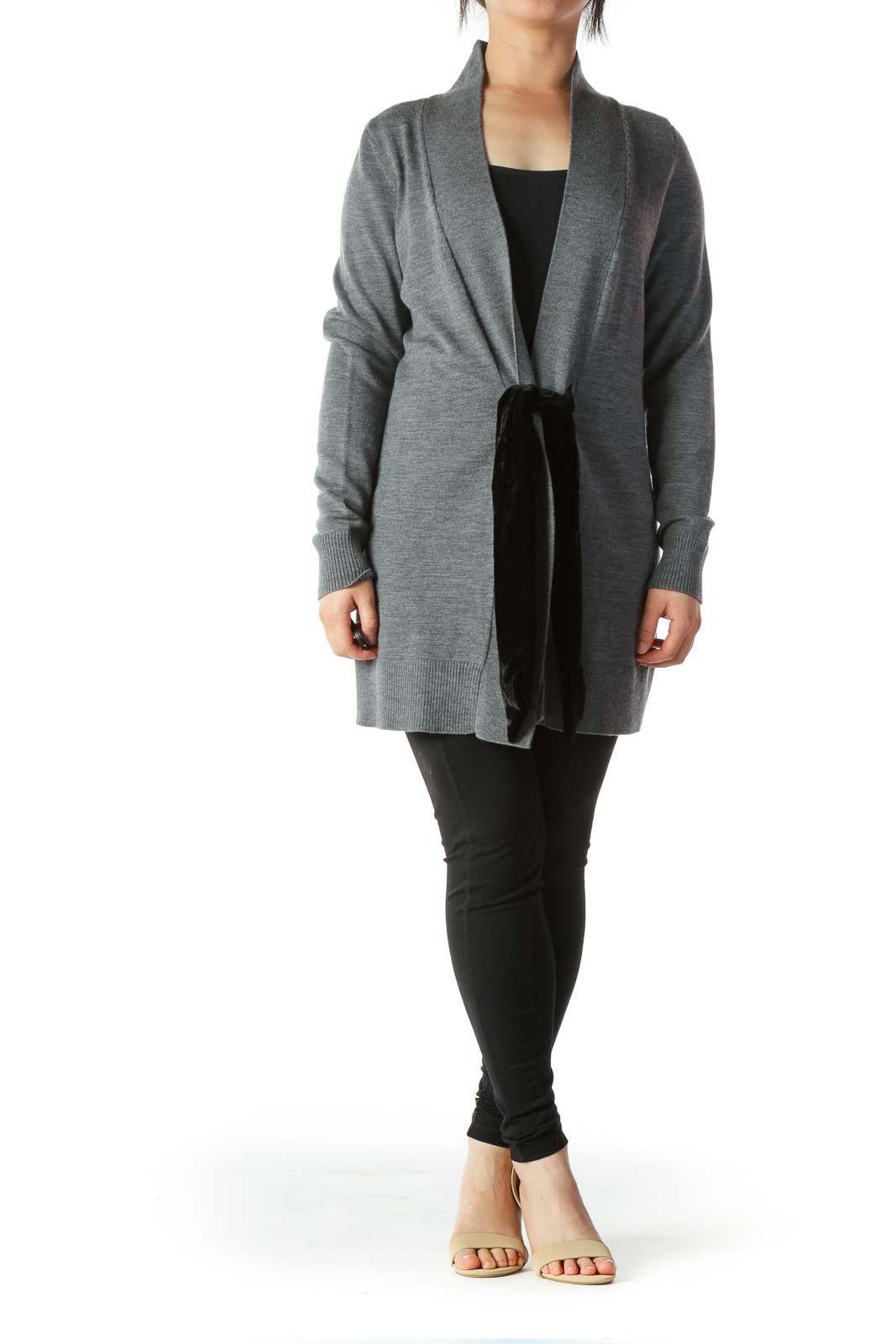 Gray Merino Wool Cardigan with Black Velvet Tie