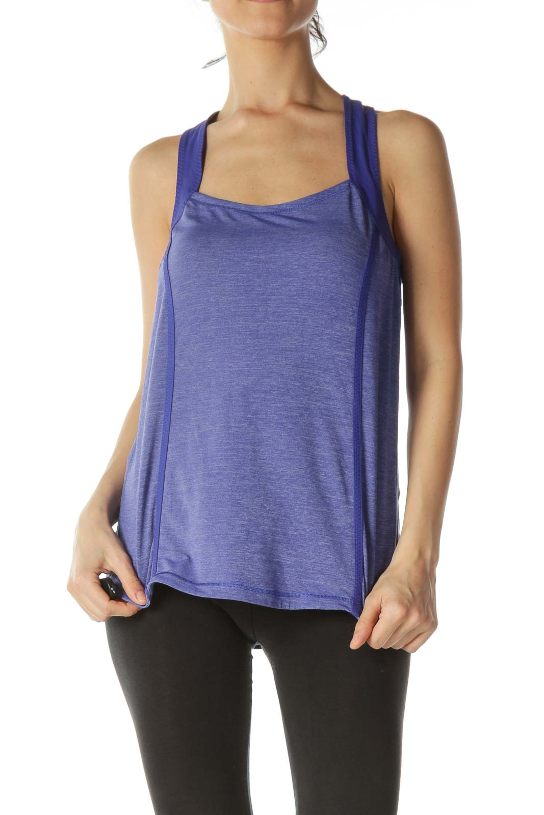 Purple Back Pleated Reflective Detail Sports Top