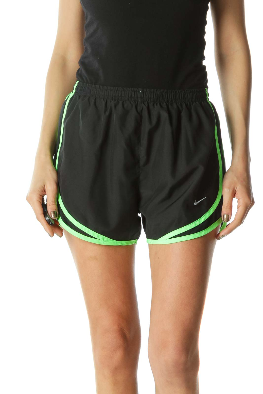 Black and Green Workout Short with Inside Lining
