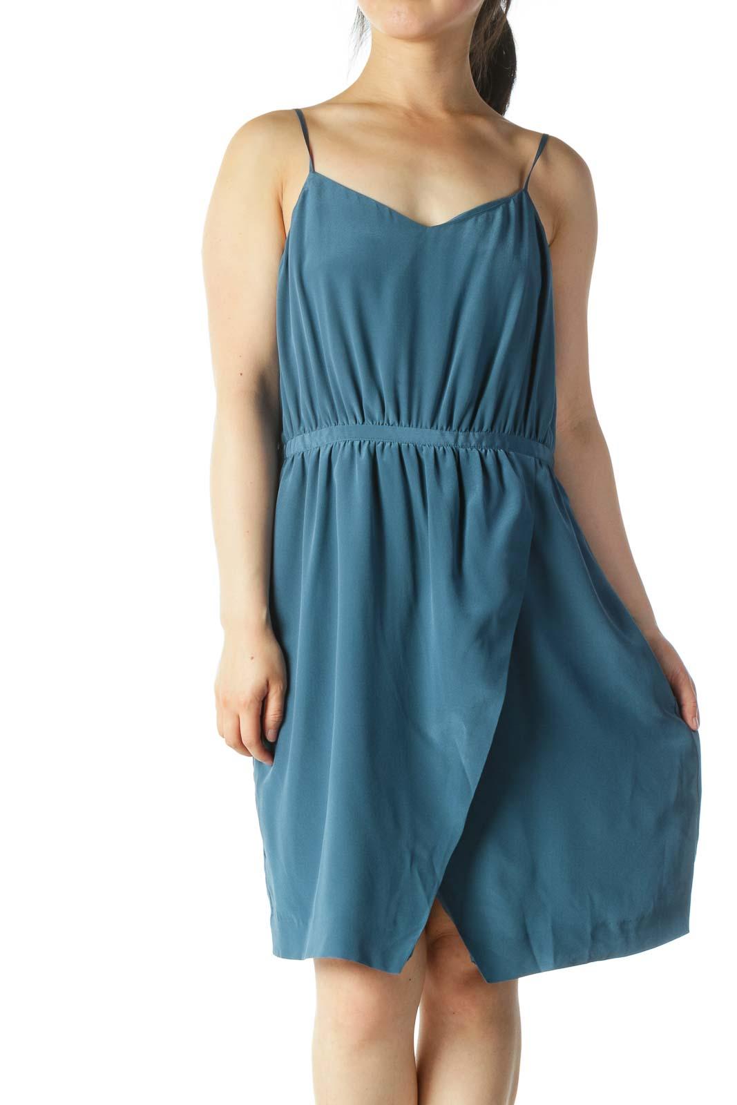 Blue Slitted Cocktail Dress