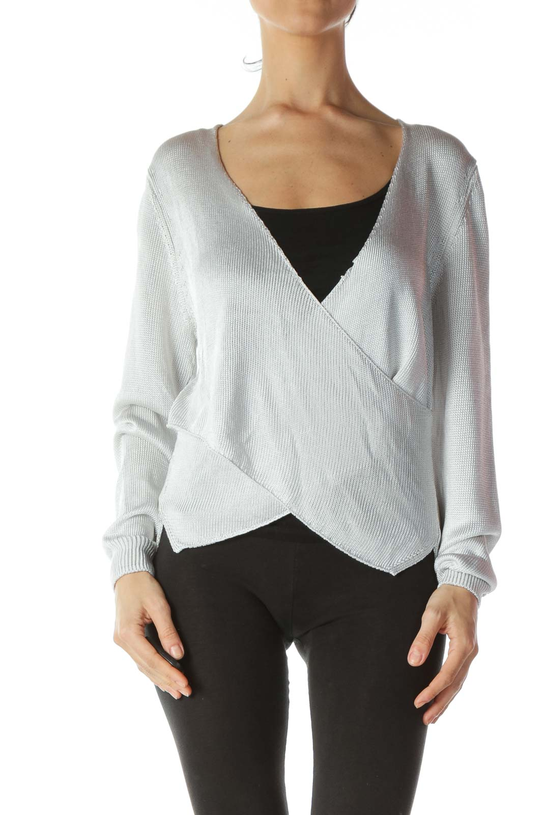 Silver V-Neck Wrap Long-Sleeve Knit Top
