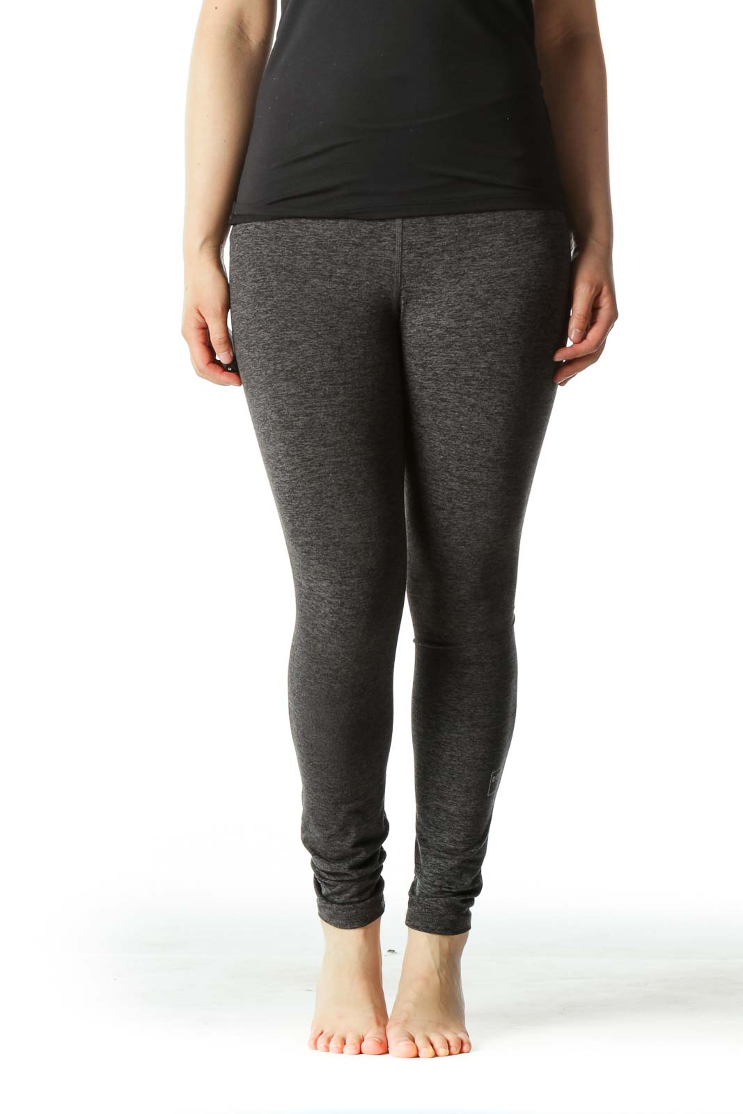 Gray Cropped Yoga Pant with Inspirational Word