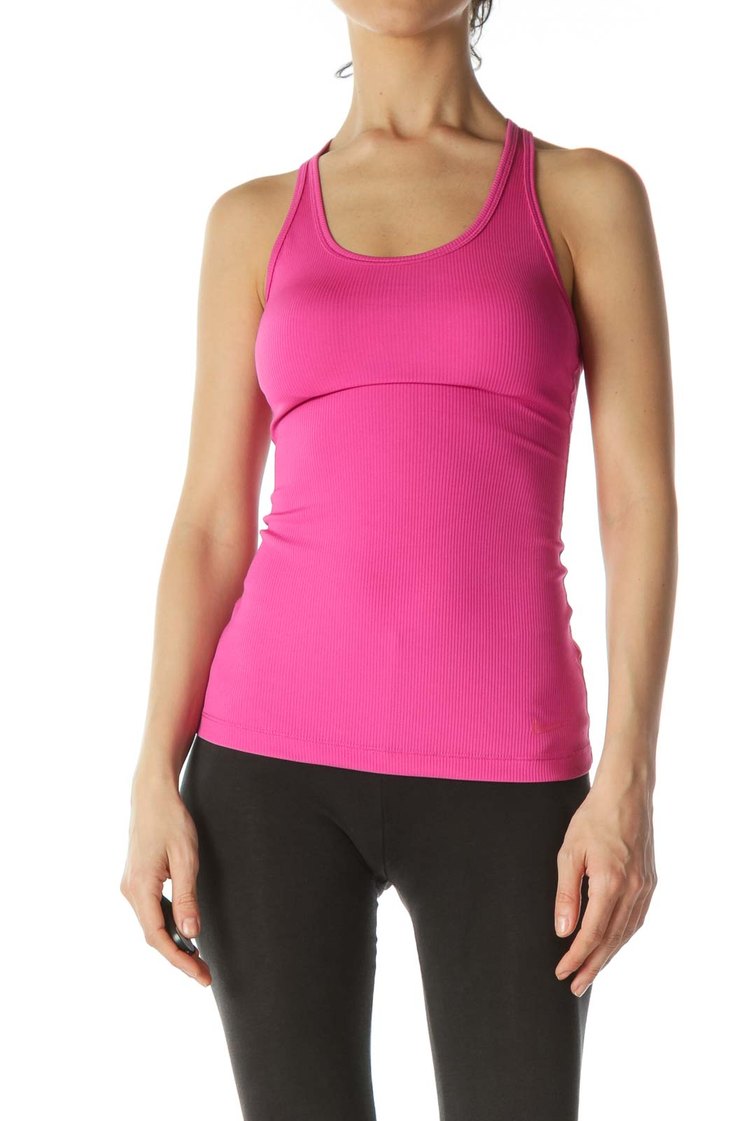 Magenta-Pink Textured Sleeveless Sports Tank