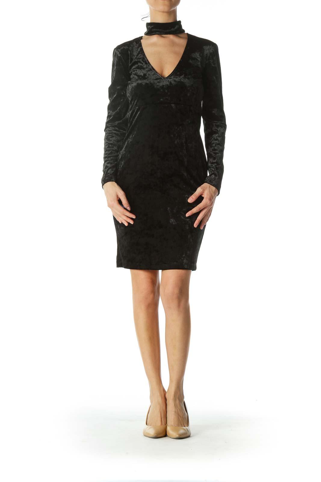 Black Velvet Dress with Choker