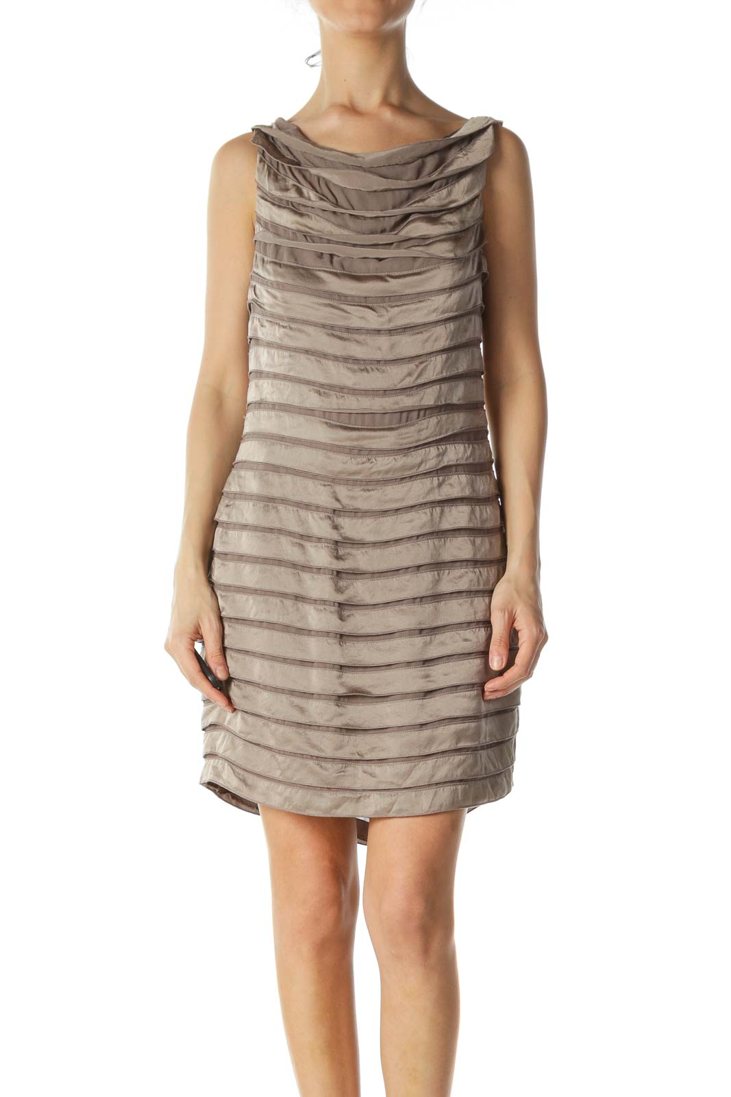 Beige Silk Cocktail Dress