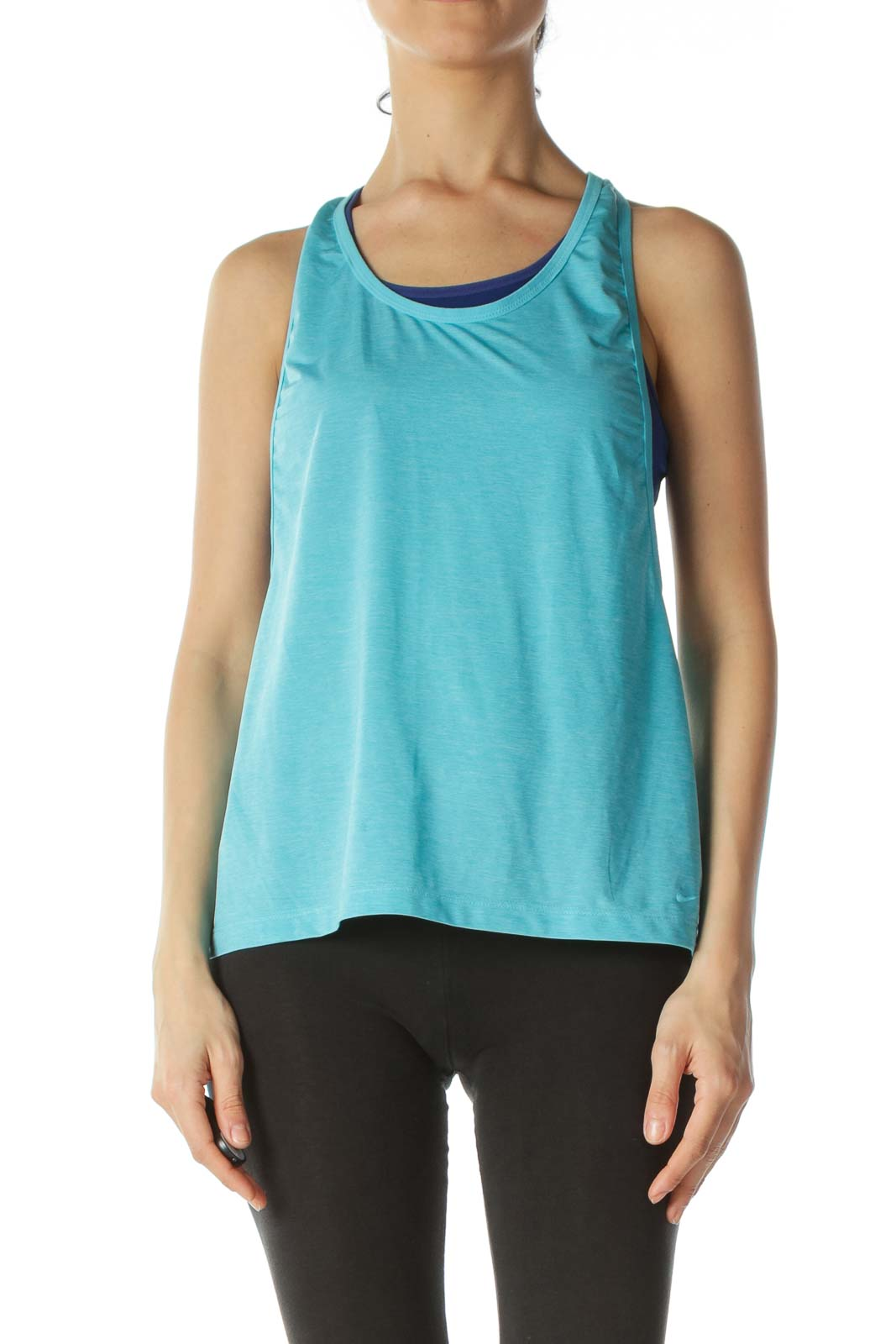 Two-Tone Blue Racerback Sports Top with Built-In Bra