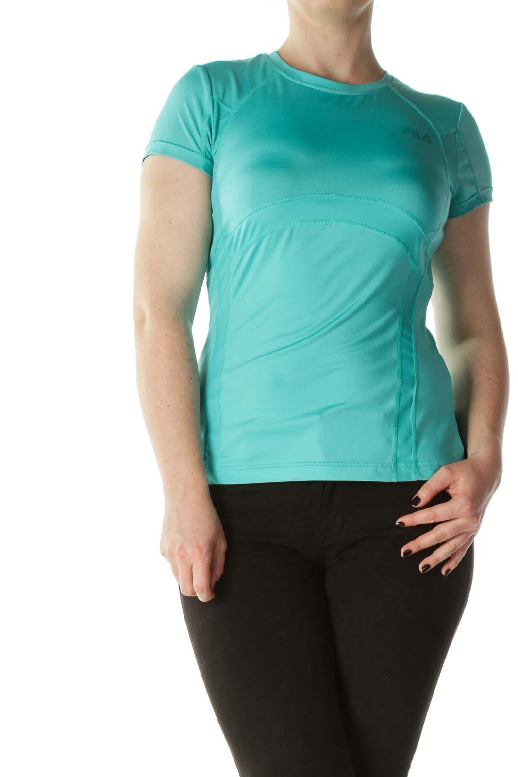 Mint-Green Short-Sleeve Sports Top