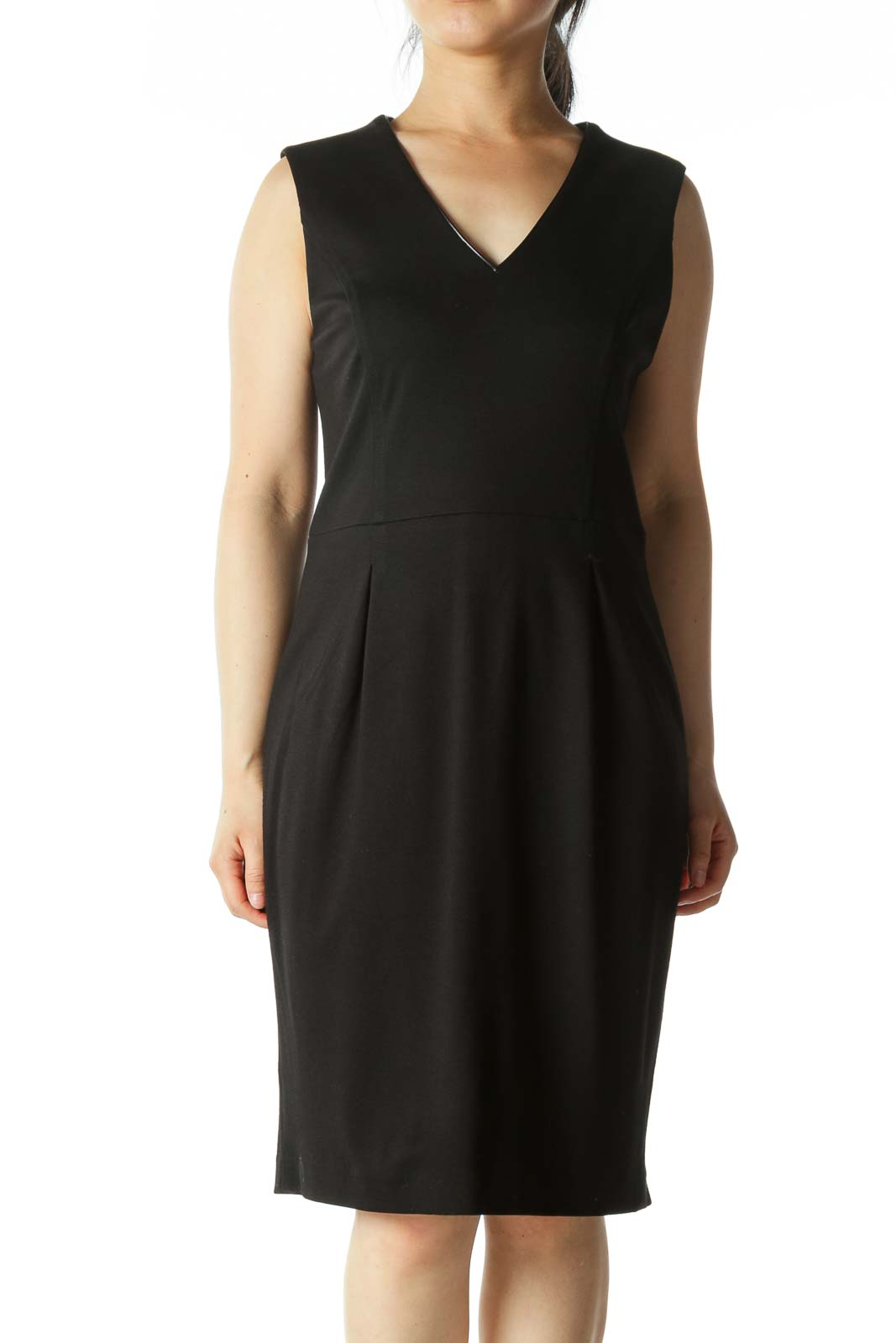 Black V-neck Slim Dress