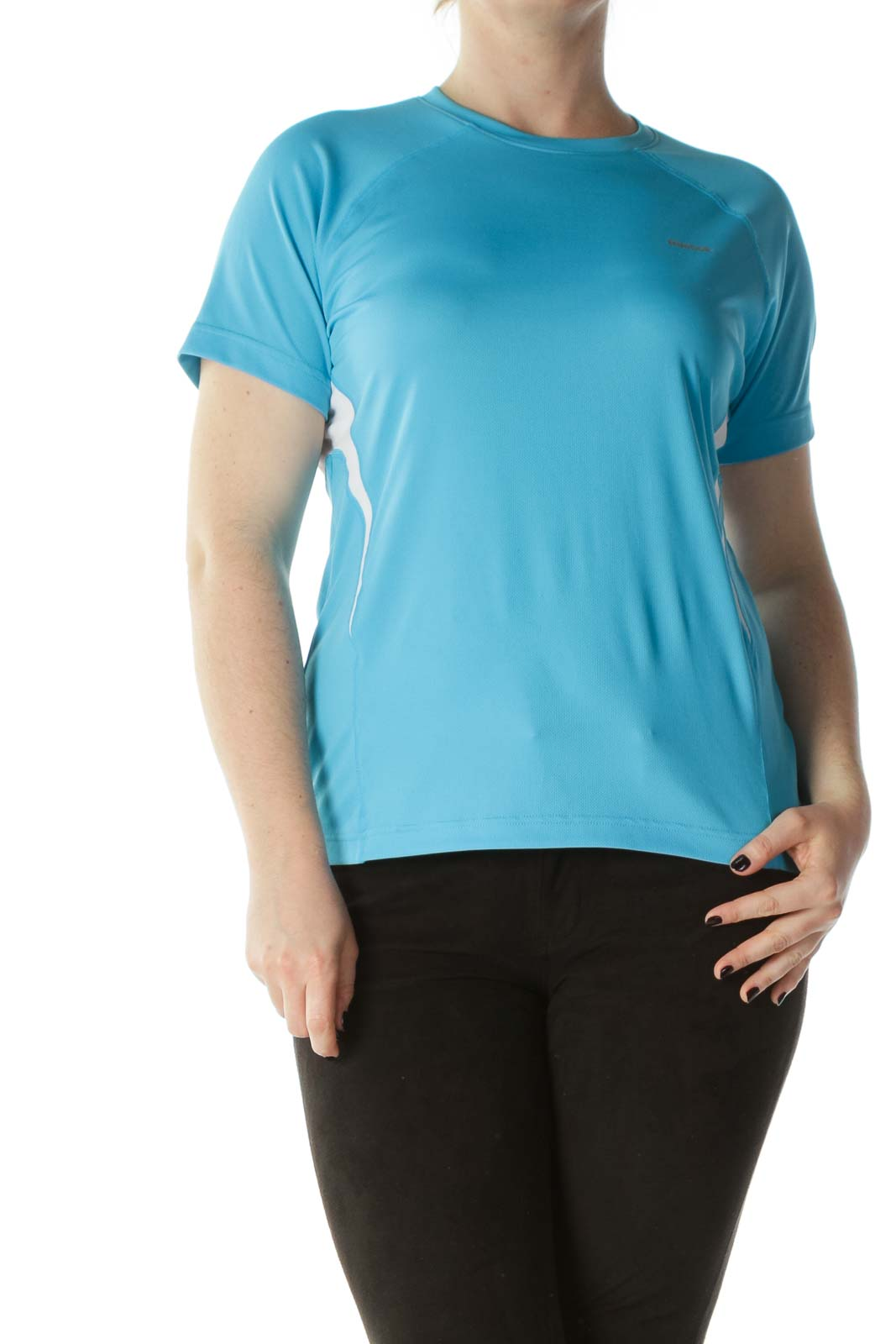 Blue White Round-Neck Short Sleeve Sports Top