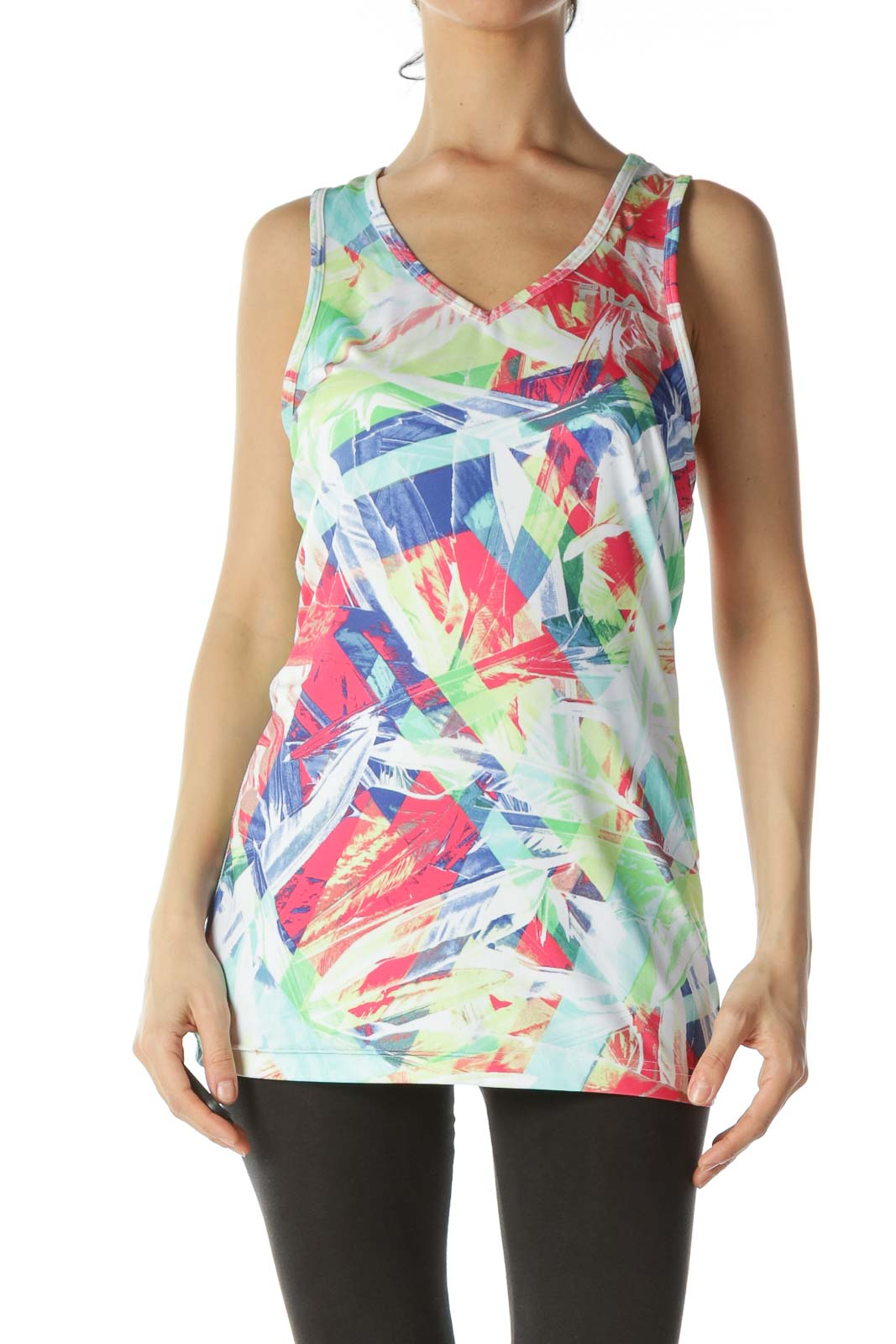 Multicolor Patterned Athletic Tank Top