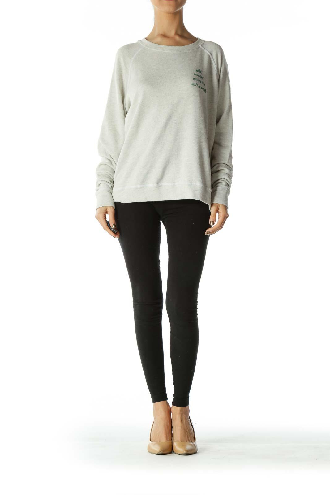 Beige Graphic Soft Sweatshirt