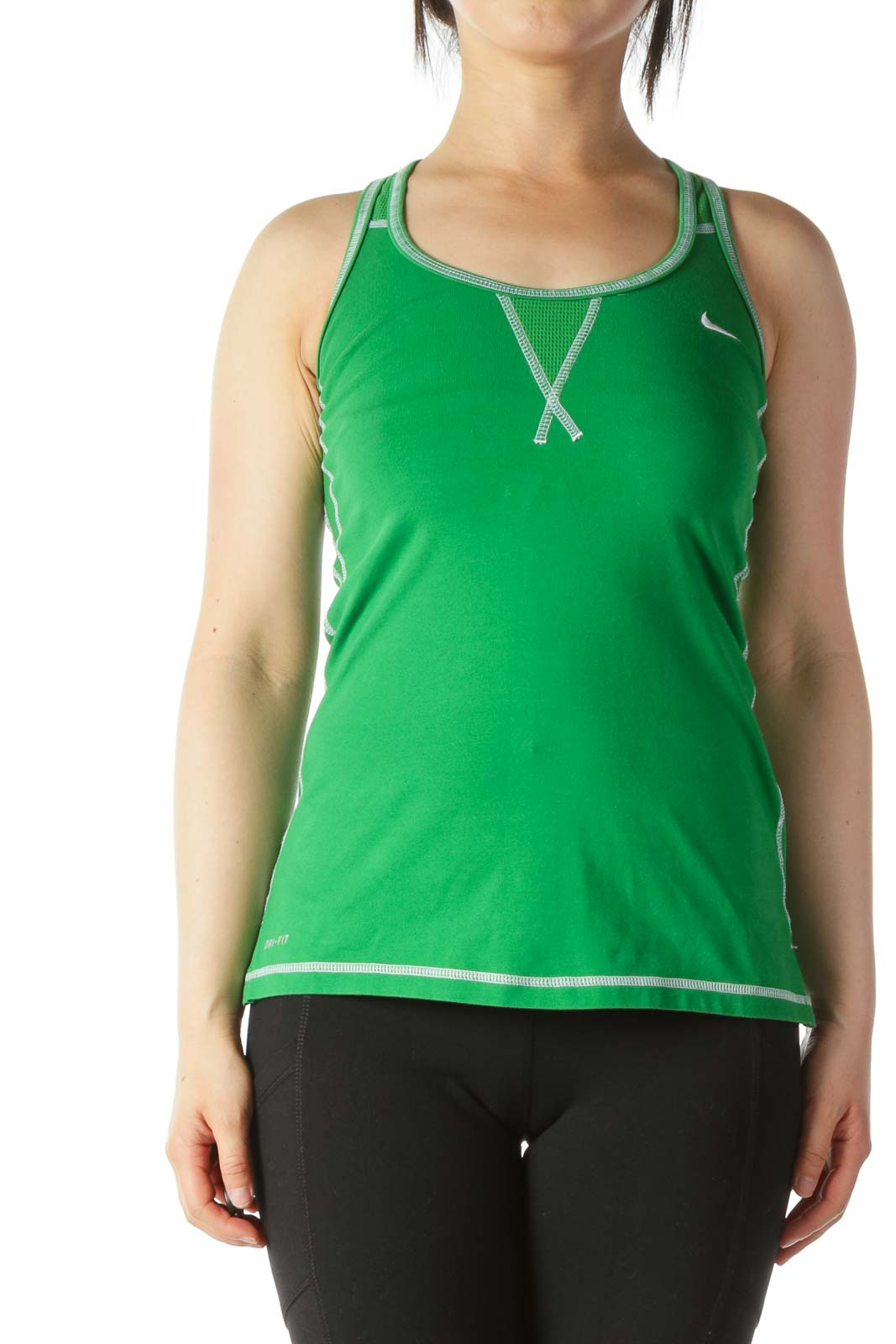Green Textured-Appliques Racerback Sports Top
