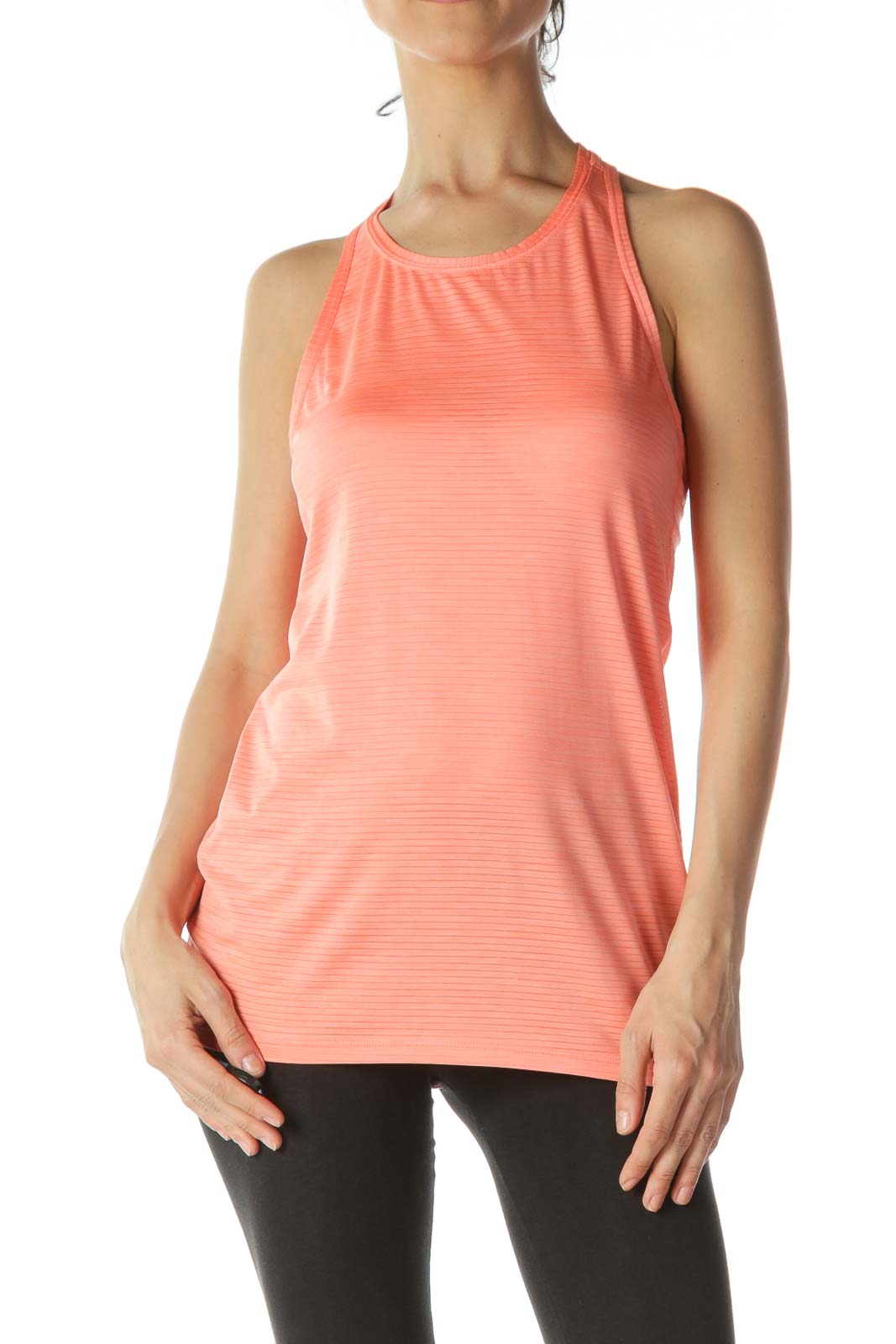 Orange Striped Racerback Yoga Top