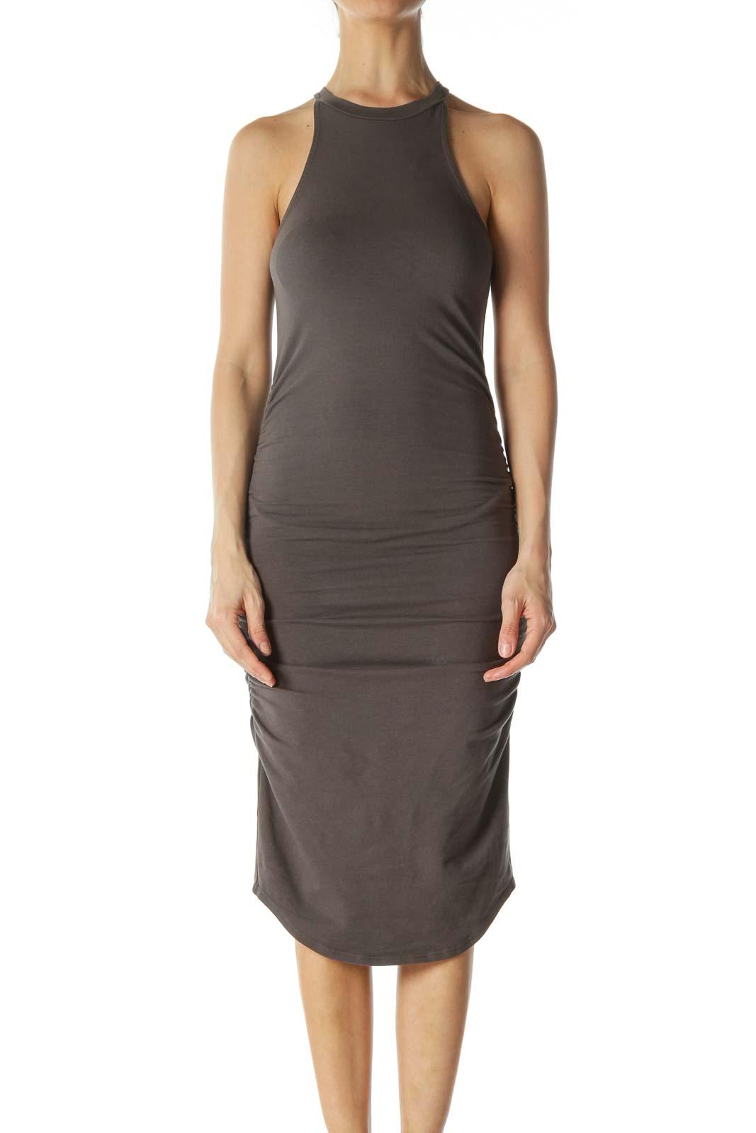 Charcoal High-Neck Racerback Bandage Dress