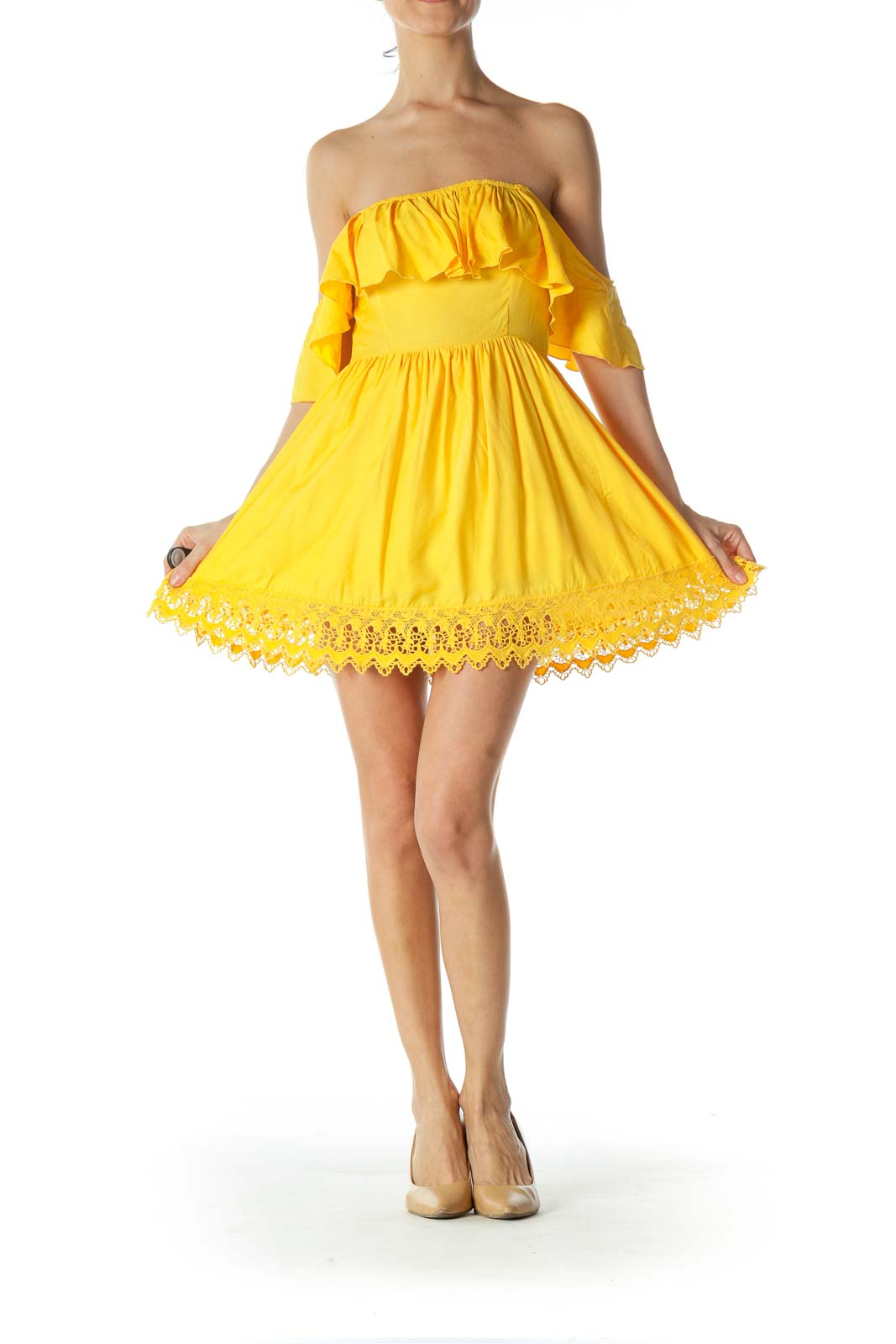 Yellow Off-Shoulder Ruffled Day Dress