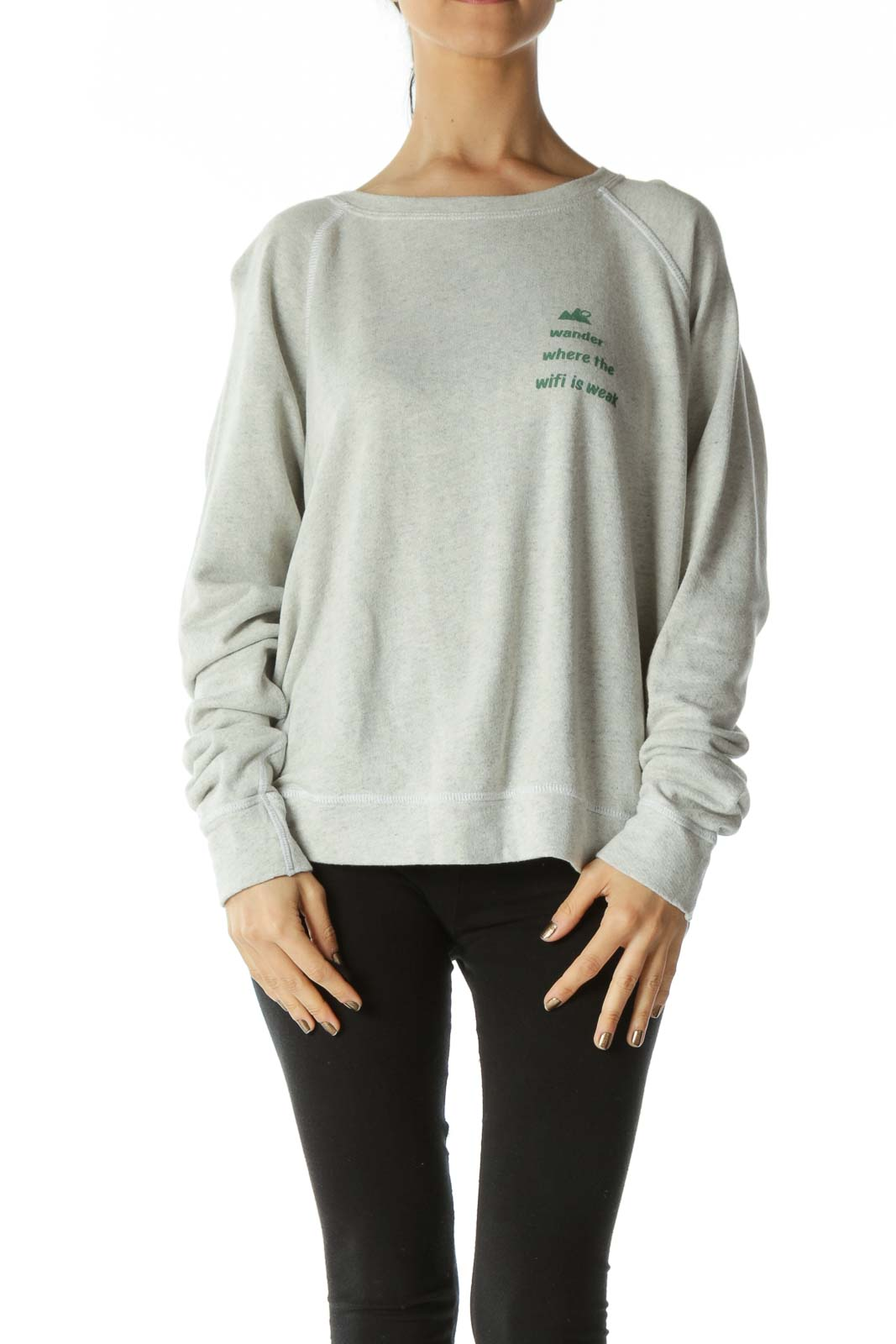 Grey Crewneck Sweatshirt with Graphic