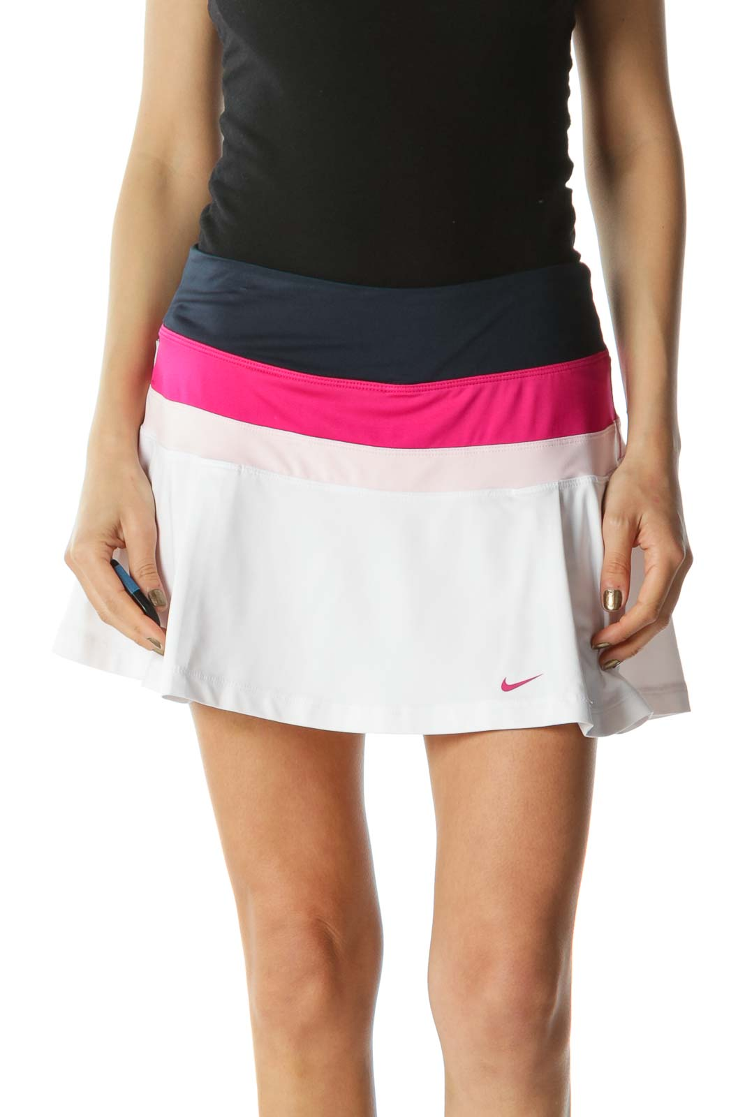 Navy, Pink, and White Flared Tennis Skirt with Shorts