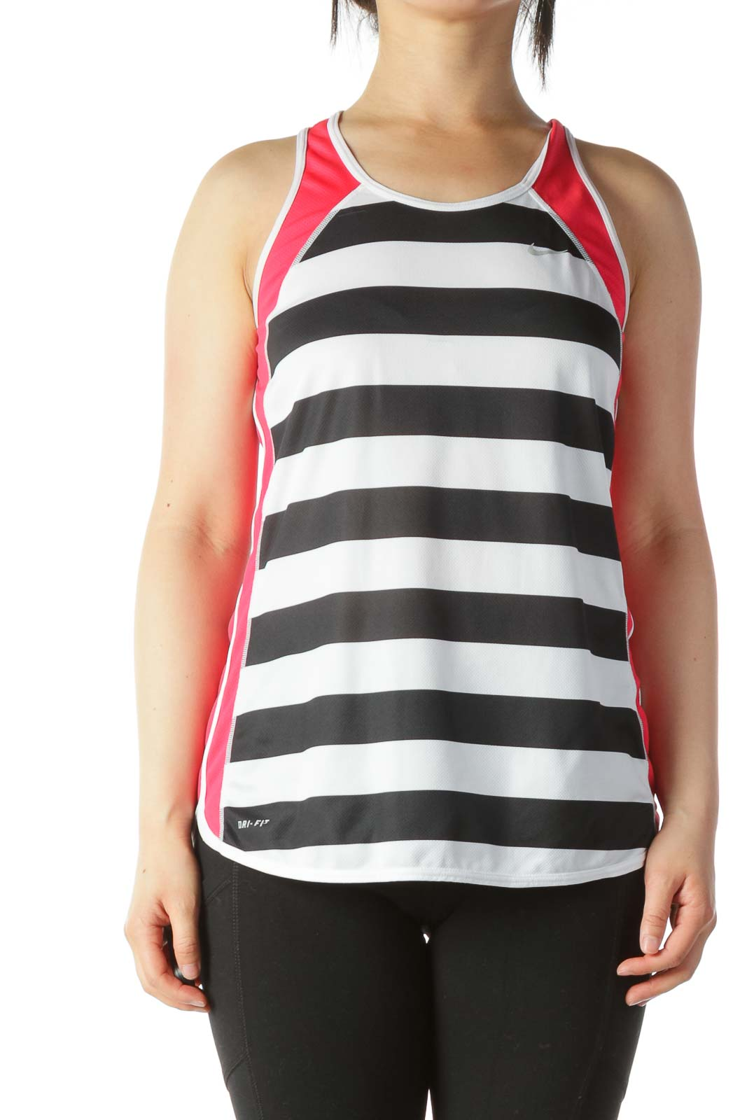 Black Red and White Striped Workout Tank