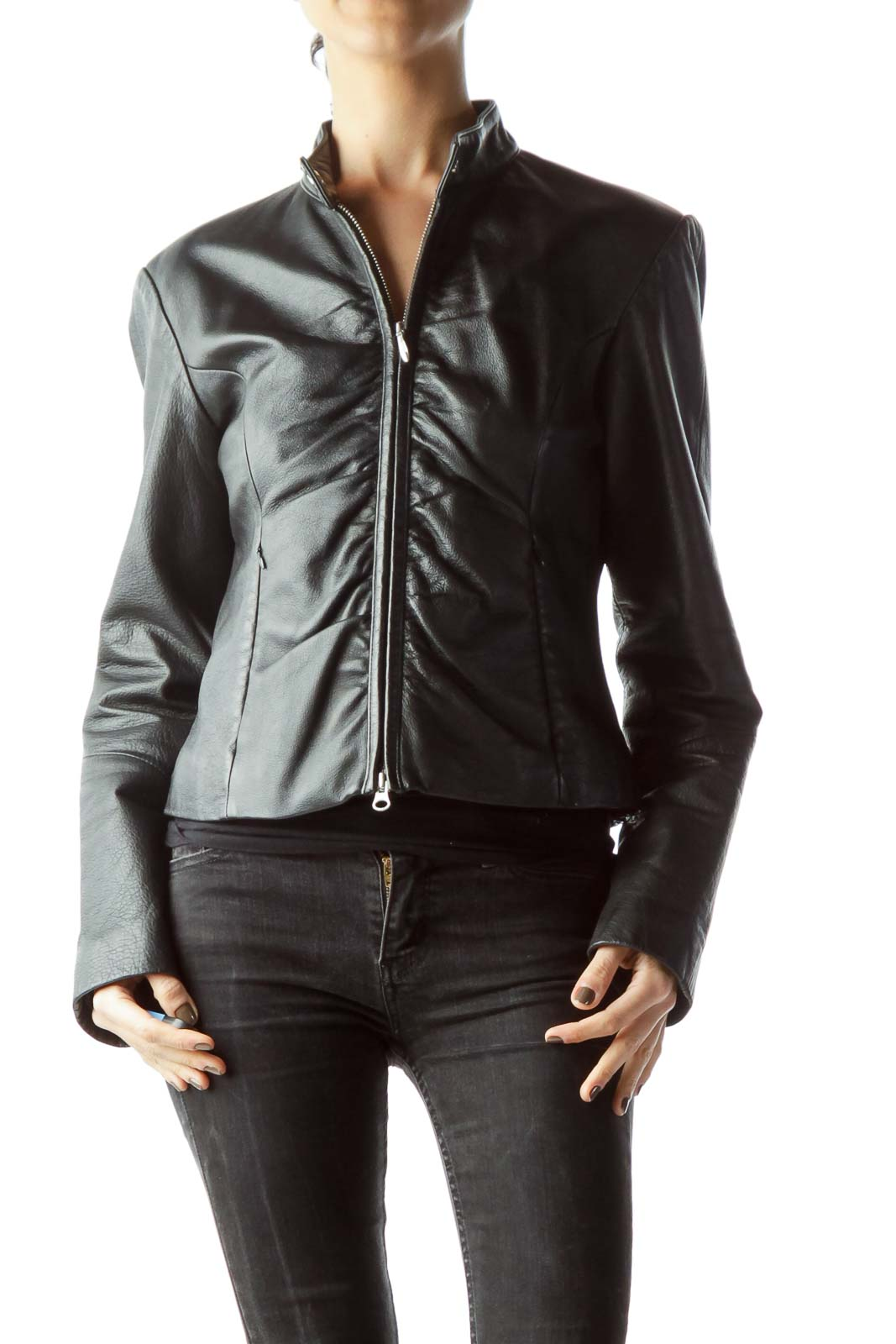 Black Zippered Leather Jacket