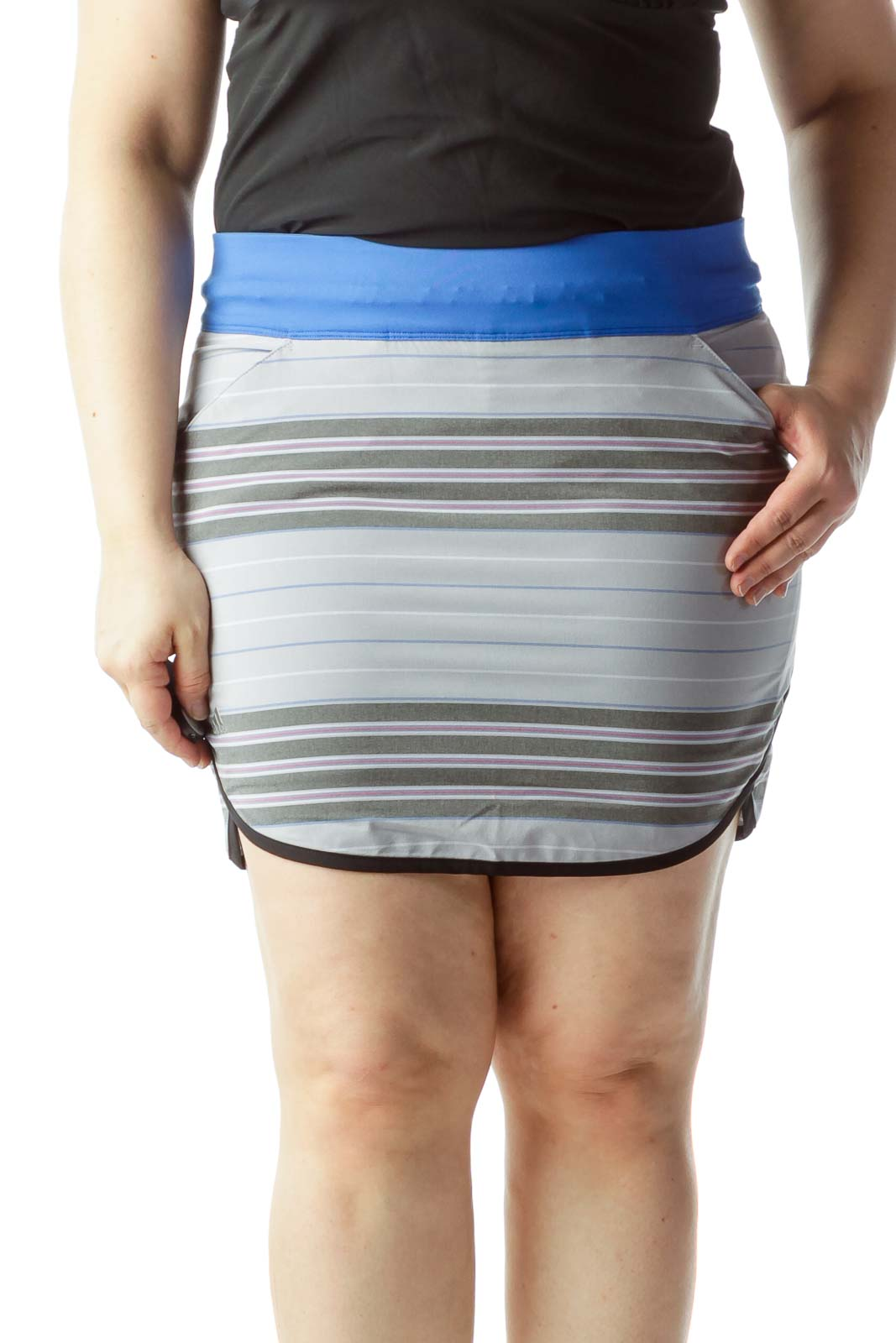 Multicolored Striped Sports Skirt with Under Shorts