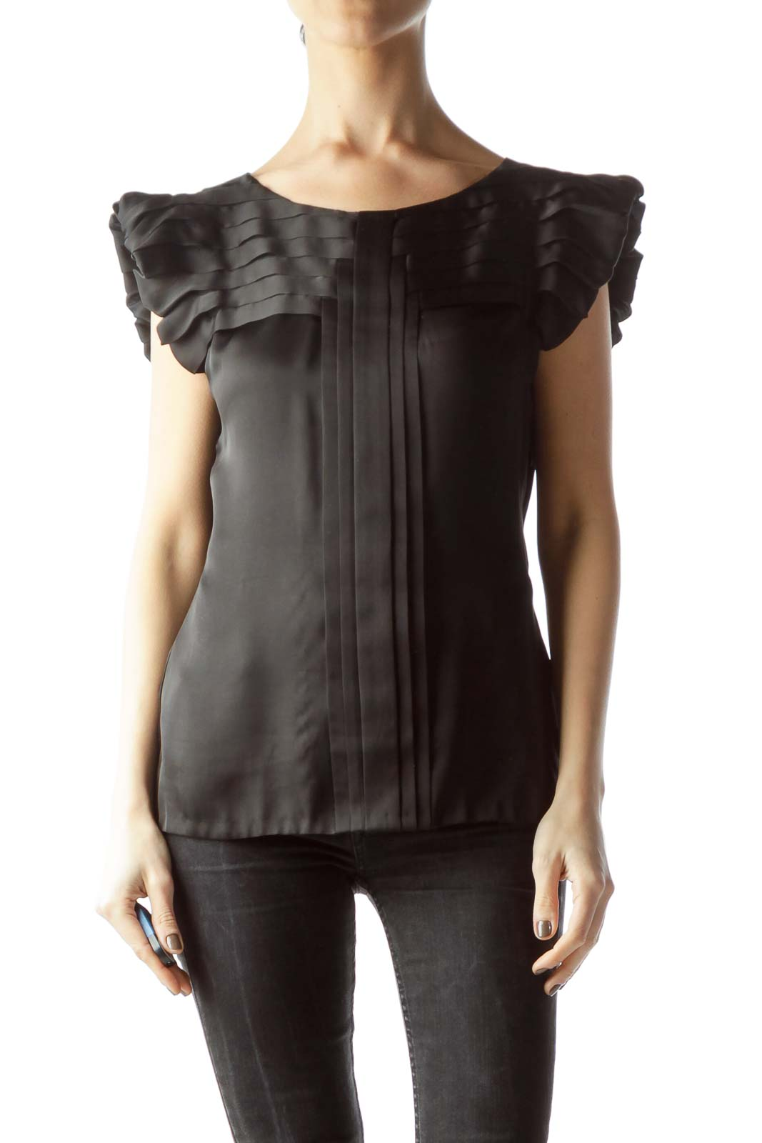 Black Pleated Neckline and Sleeves Blouse