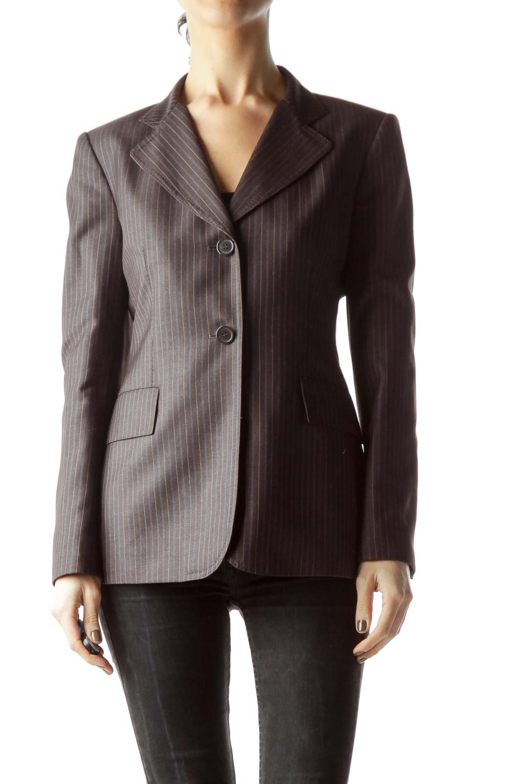 Brown Blue Buttoned Padded Shoulder Blazer