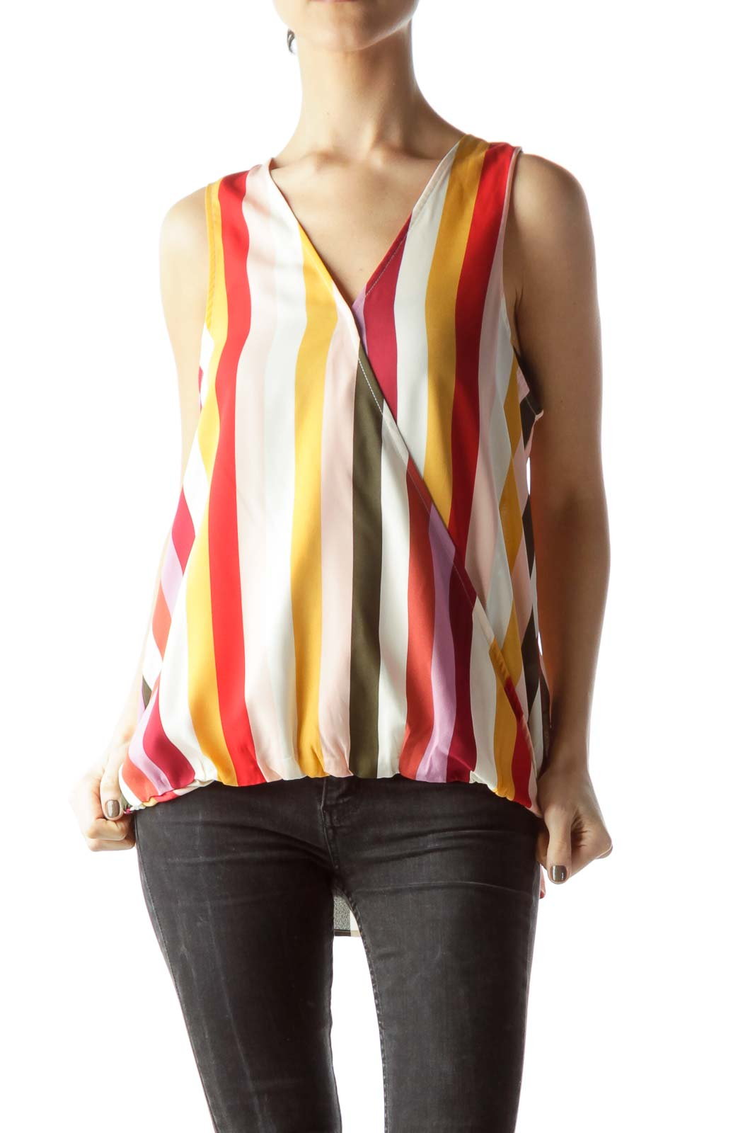 Pink Multi-Color Sleeveless Blouse