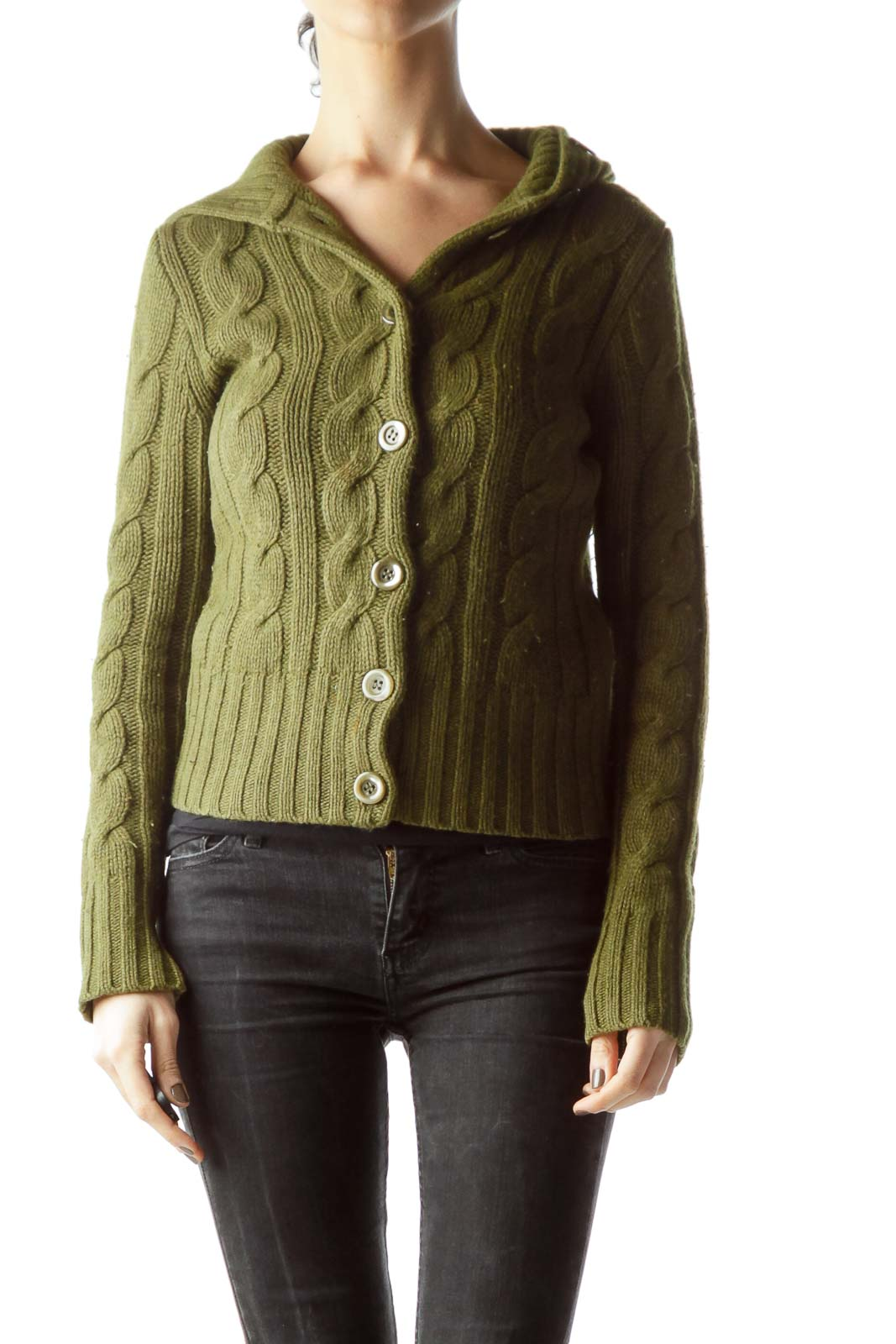 Olive Green Buttoned Long Sleeve Cable-Knit Sweater