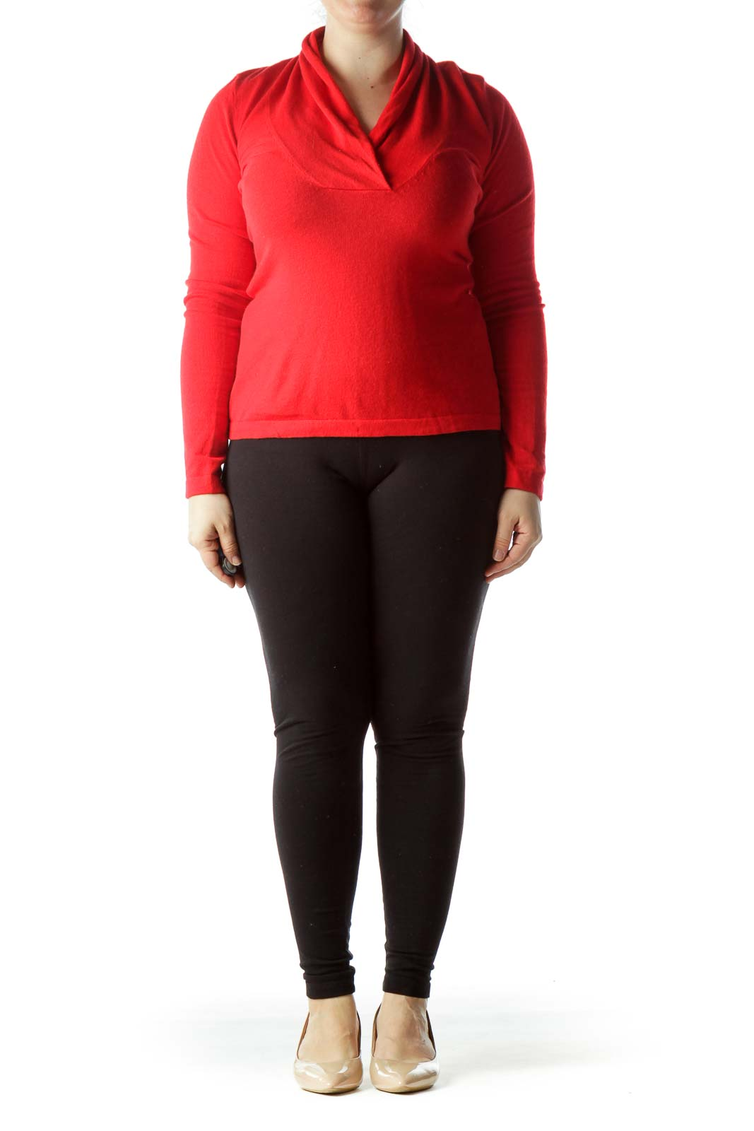 Lipstick Red V-Neck Long Sleeve Sweater