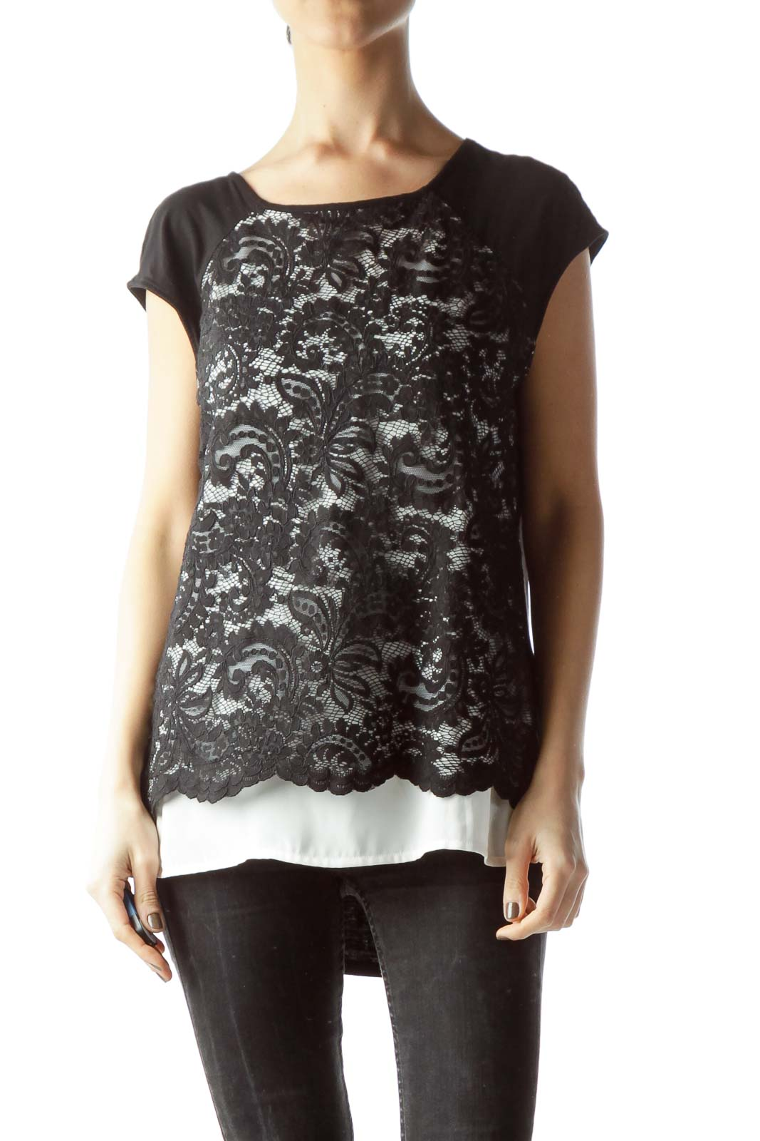 Black White Lace Front Mixed Media Flared Blouse