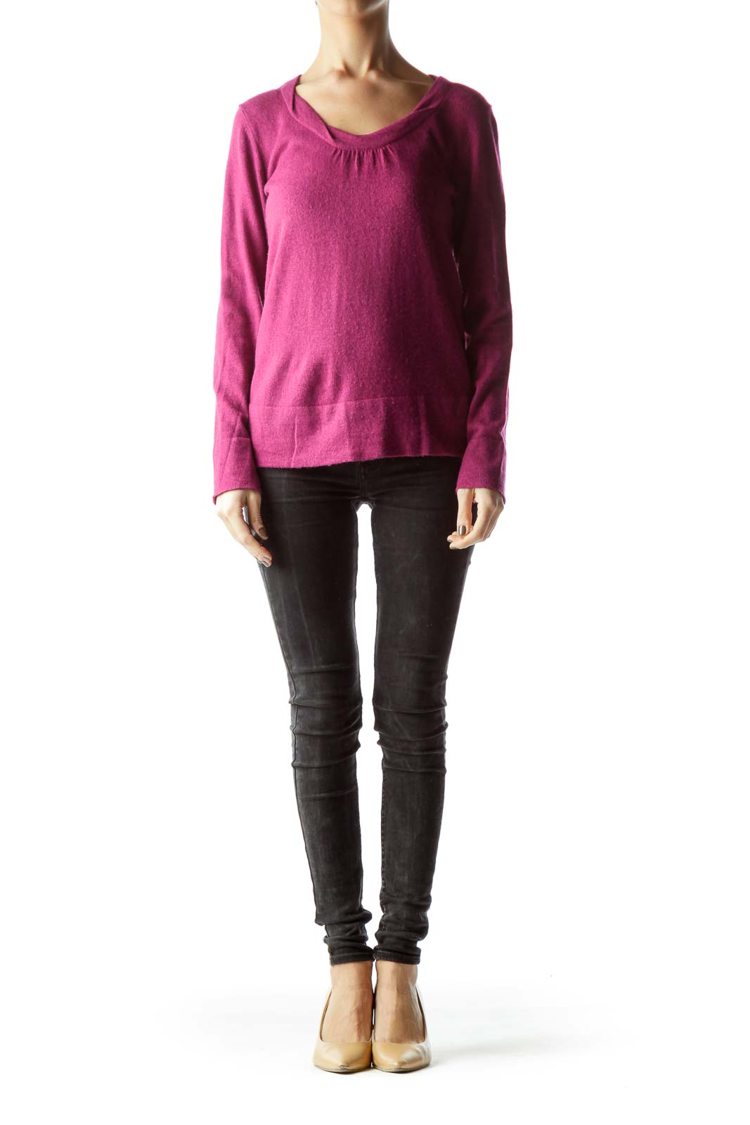 Purple Round Neck Long Sleeve Knit Sweater