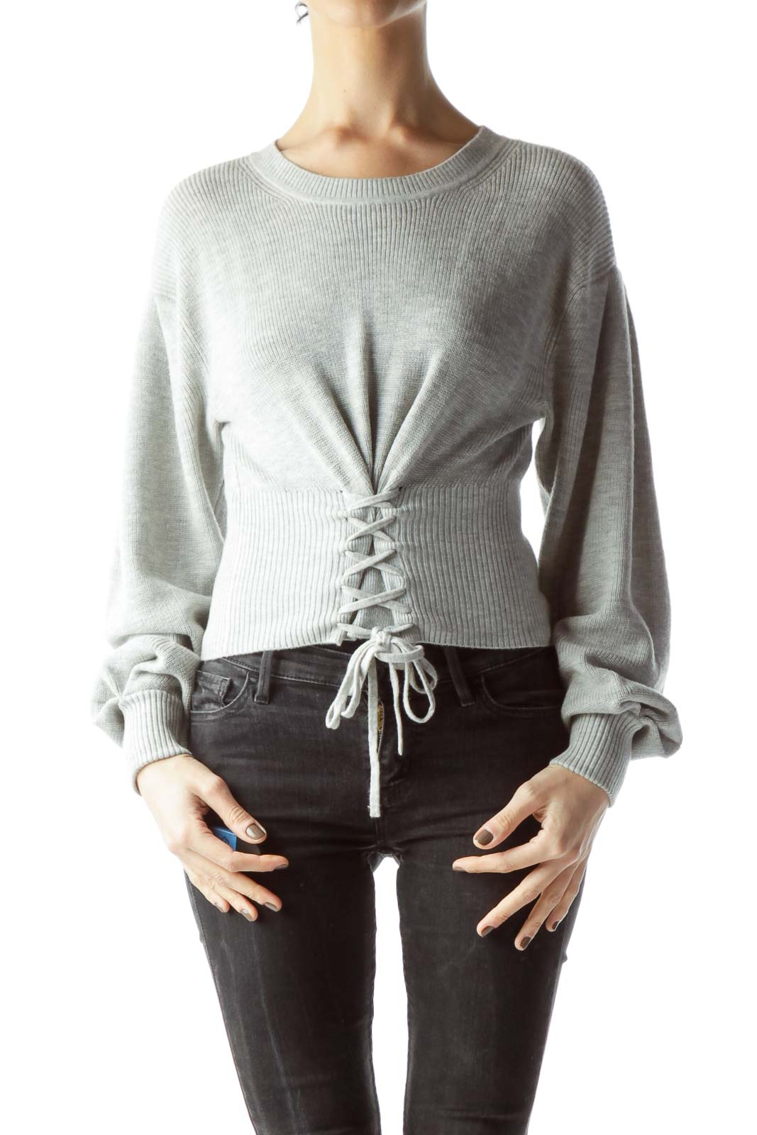Gray Long Sleeve Front Drawstring Sweater