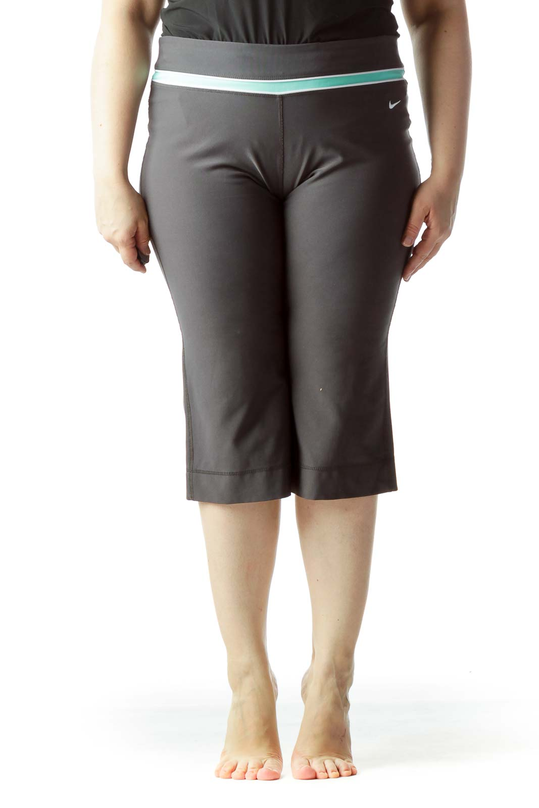Gray Mint Green White Waist Detail Cropped Sports Pants