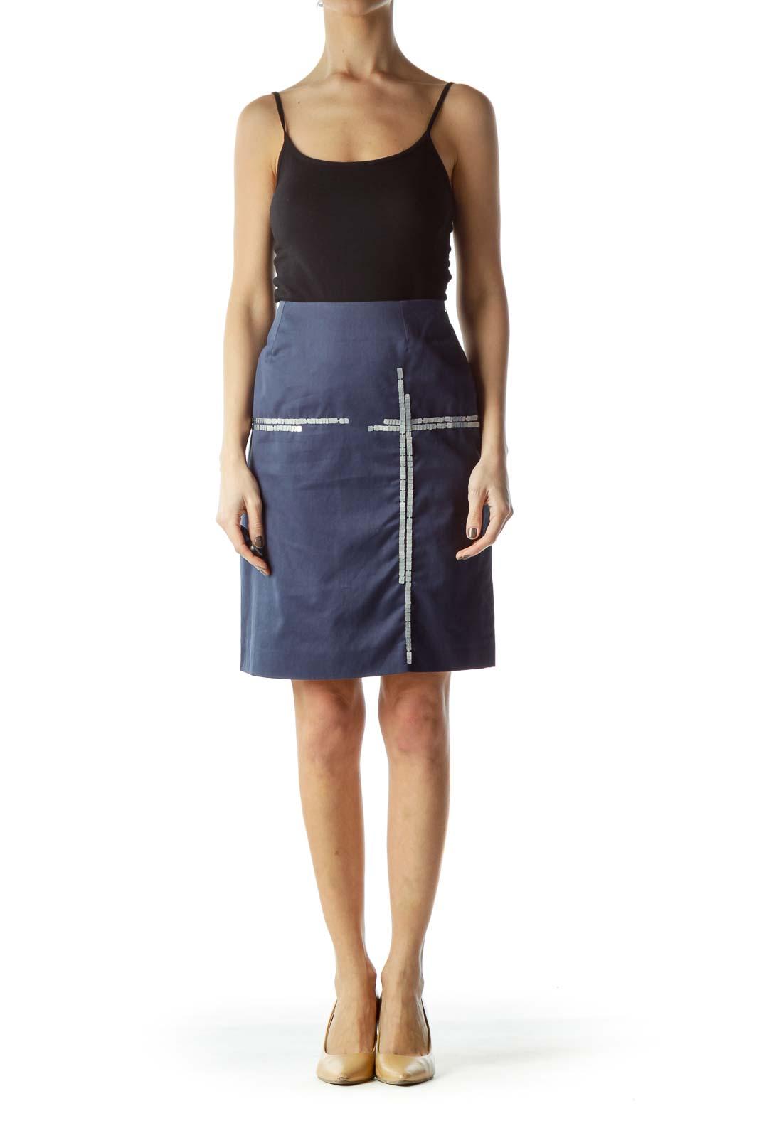 Blue Front Sequin Design A-Line Skirt