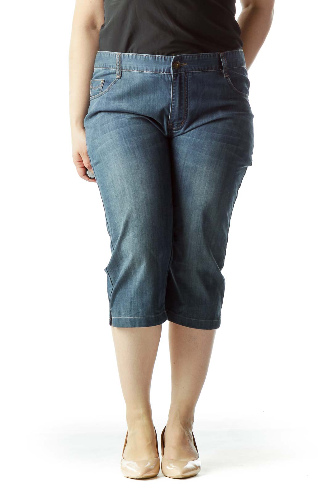 Blue Medium-Wash 100% Cotton Cropped Jeans