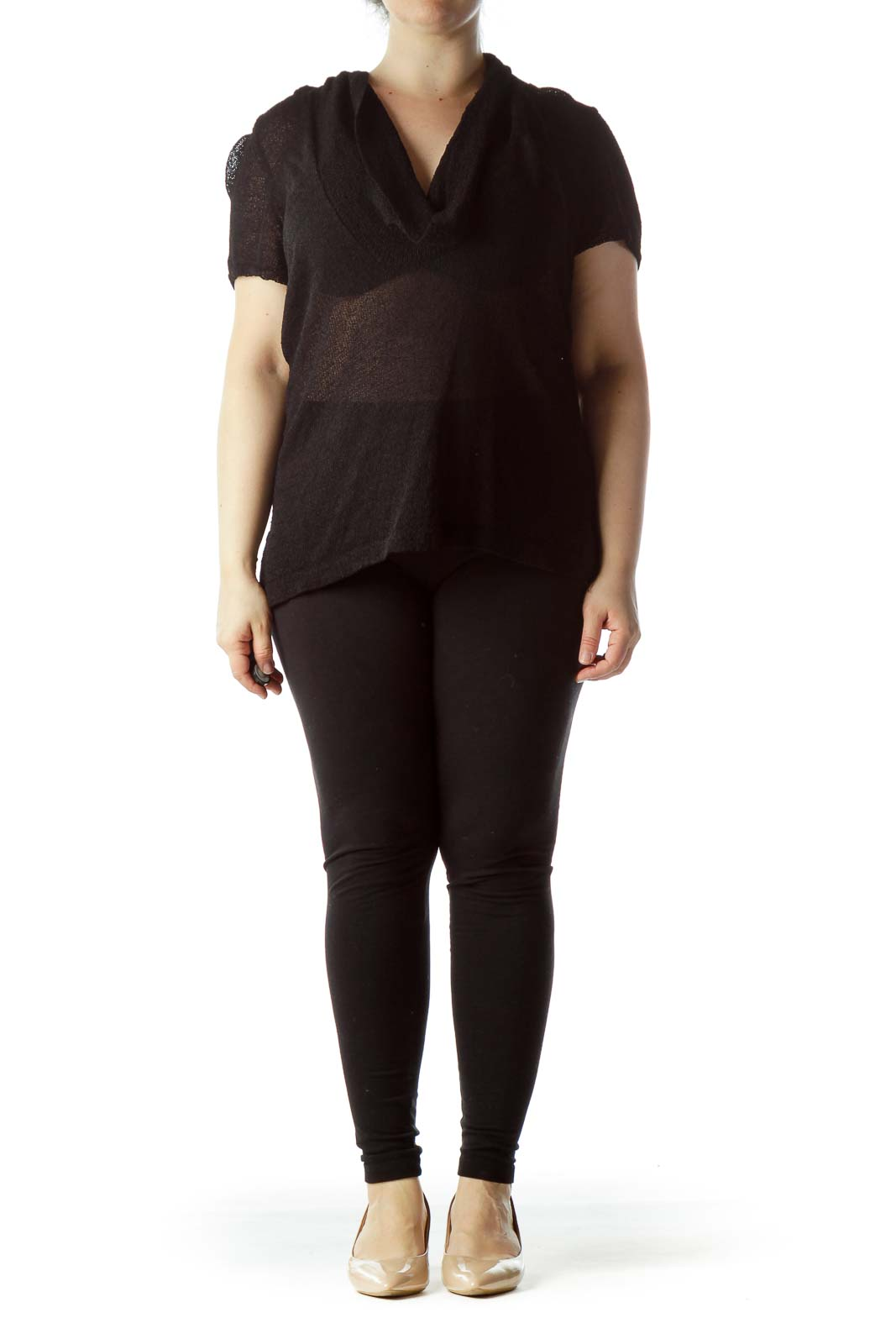 Black Knit See Through Cowl Neck Flared Top