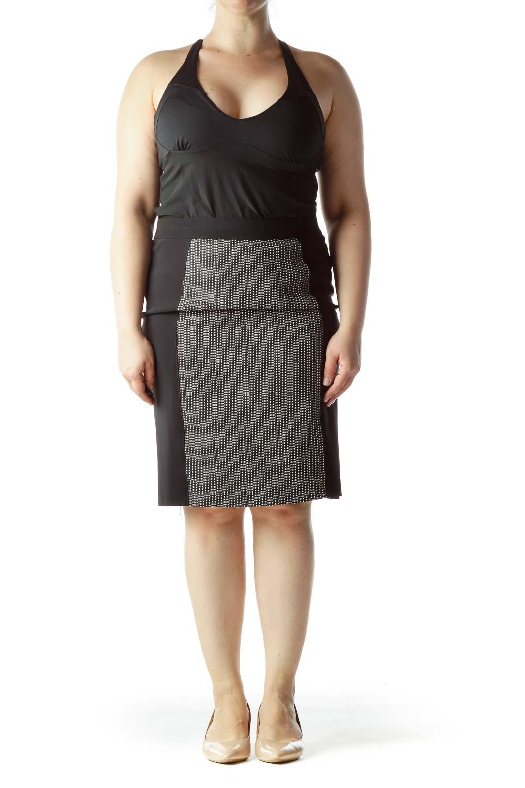Black White Gray Knit Front Pencil Skirt