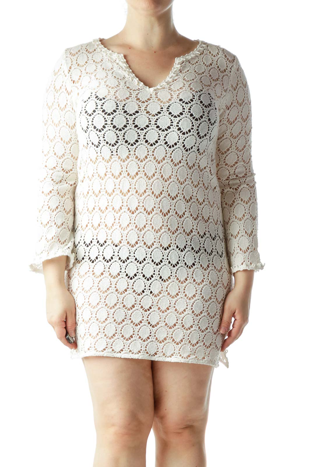 Cream Crocheted V-Neck See-Through Tunic Dress
