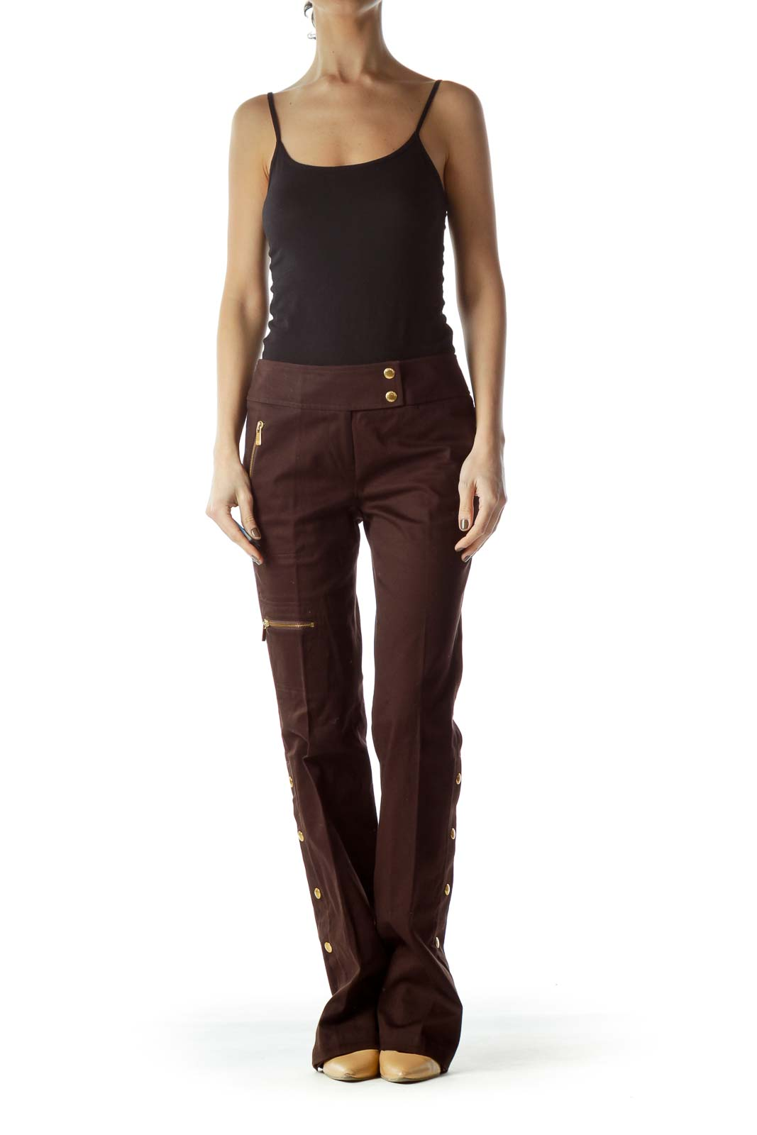 Brown Gold Hardware Zippered Straight-Leg Pants