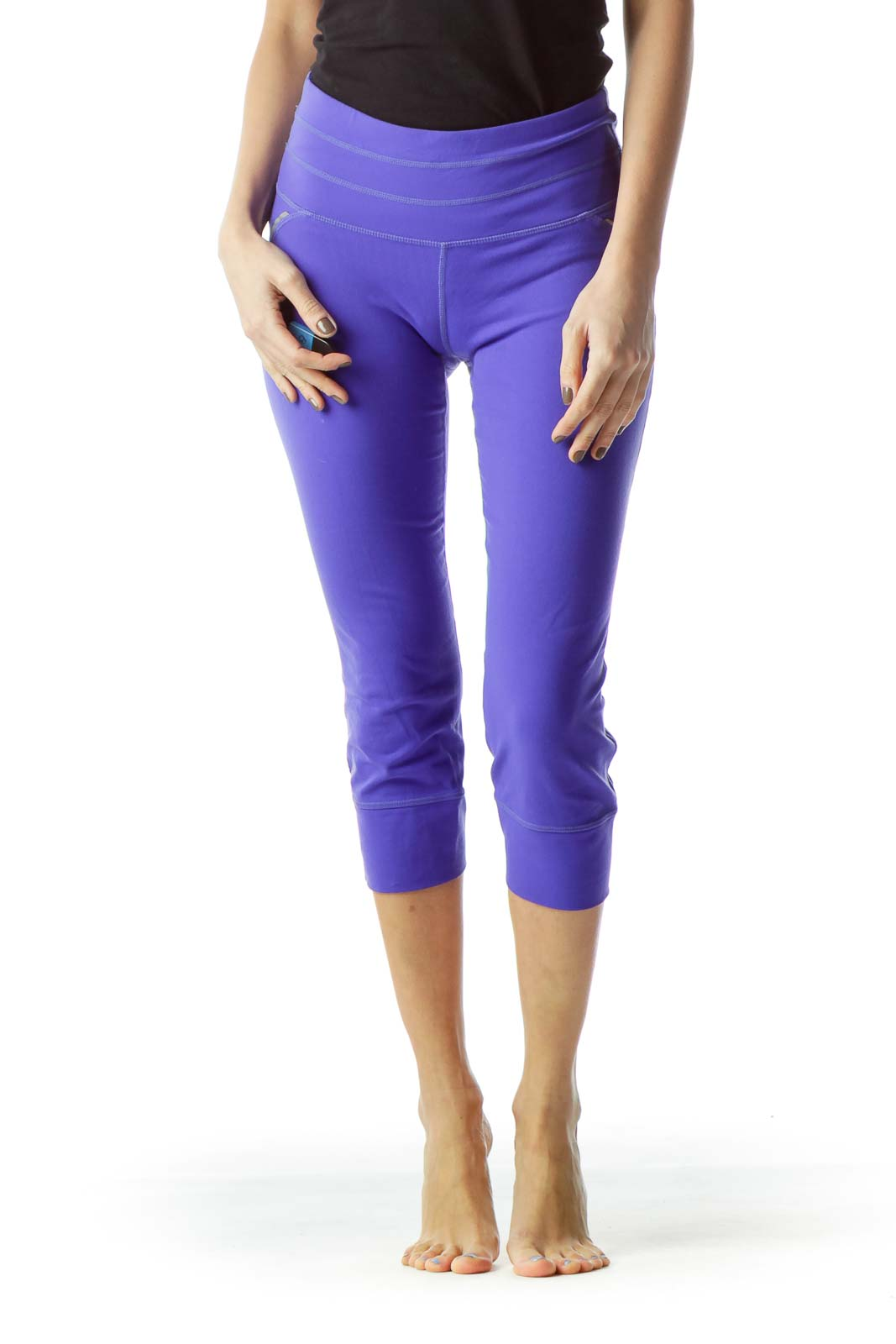 Purple Elastic Sports Cropped Pants