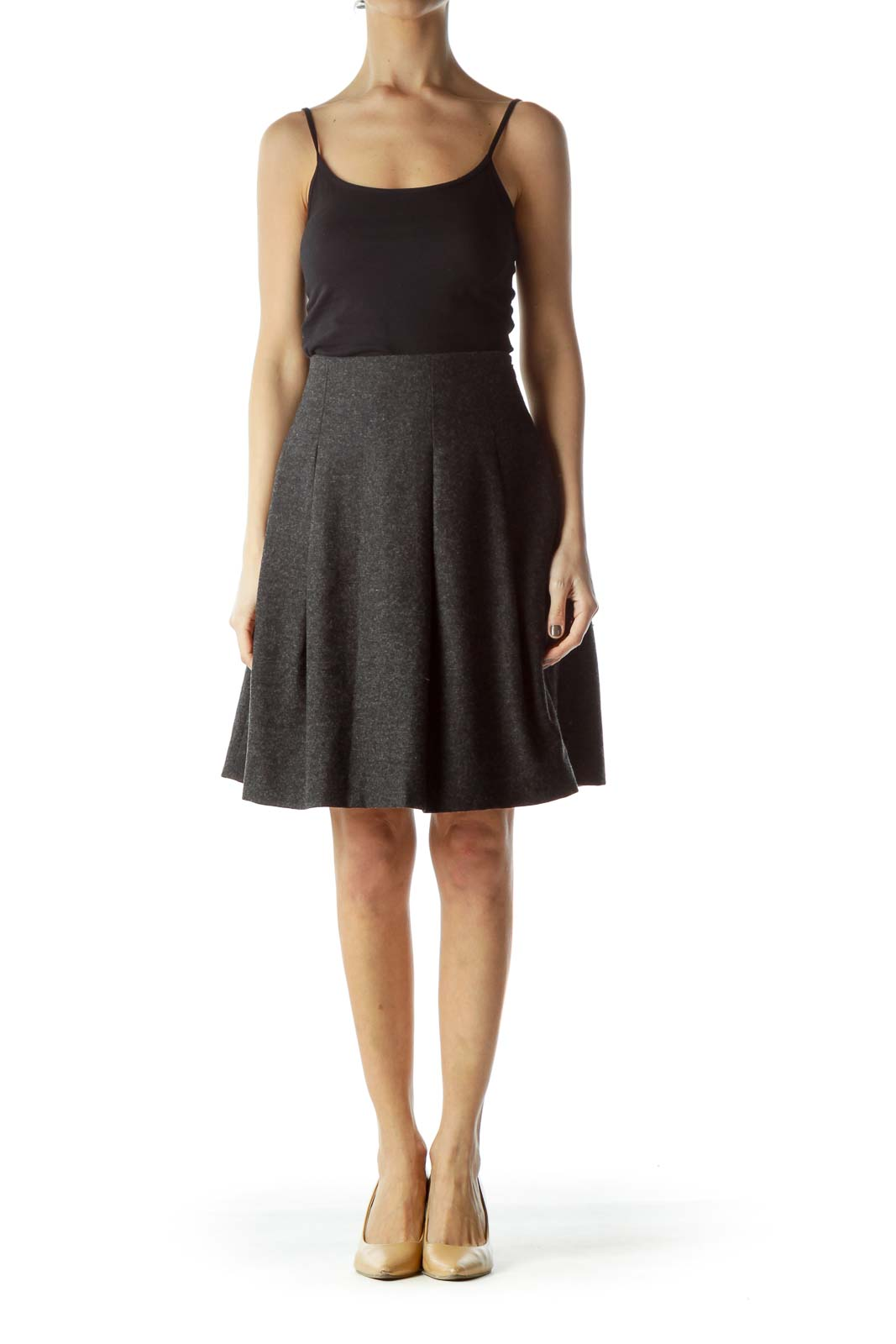 Gray Wool Pleated Flared Skirt