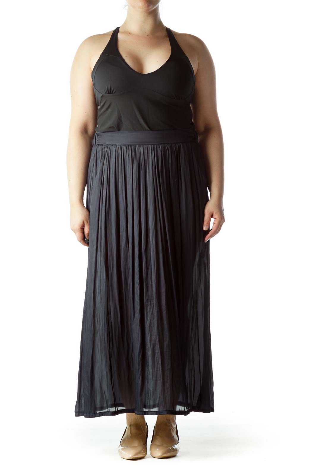 Navy Blue Pleated Pocketed See-Through Maxi Skirt