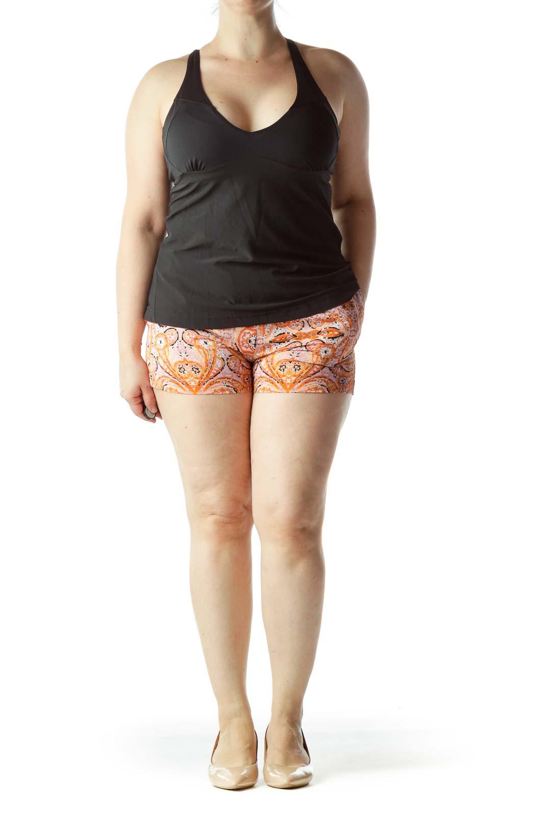 Pink Orange Black Printed Shift Shorts