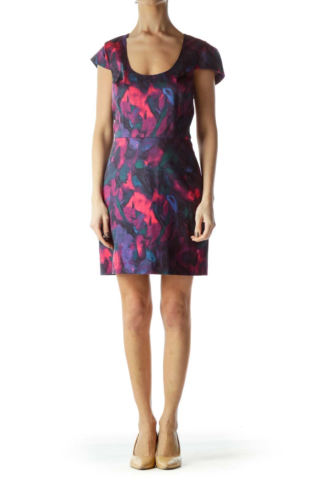 Multicolored Print Cap Sleeves Work Dress