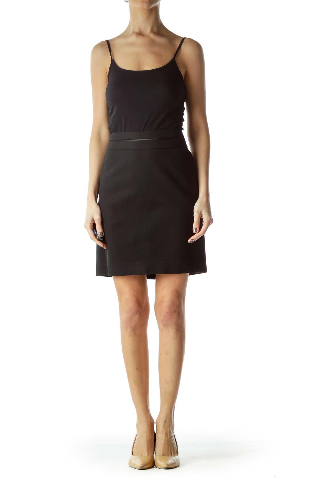 Black Waist Stitching Slitted A-Line Skirt