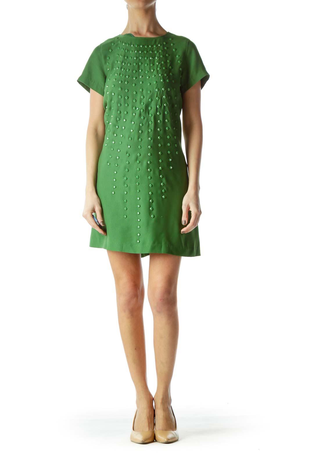 Green Studded Short Sleeve Dress