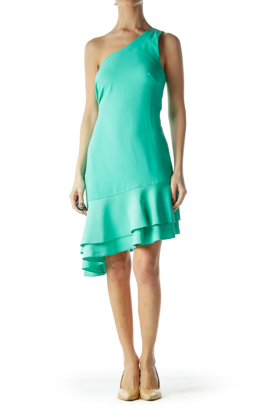 Mint Green One-Shoulder Flared Shift Cocktail Dress