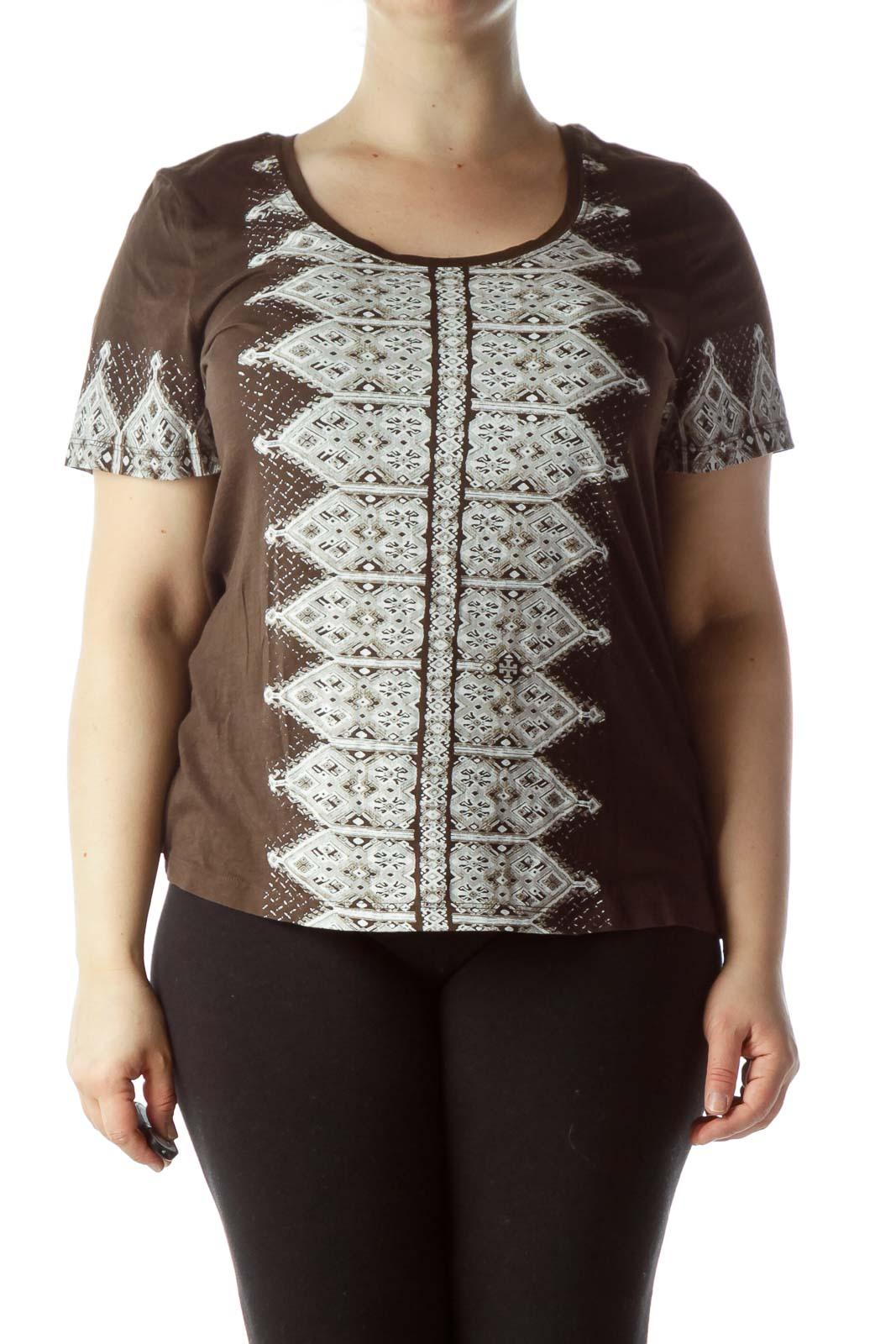 Brown Cream Printed Design T-Shirt